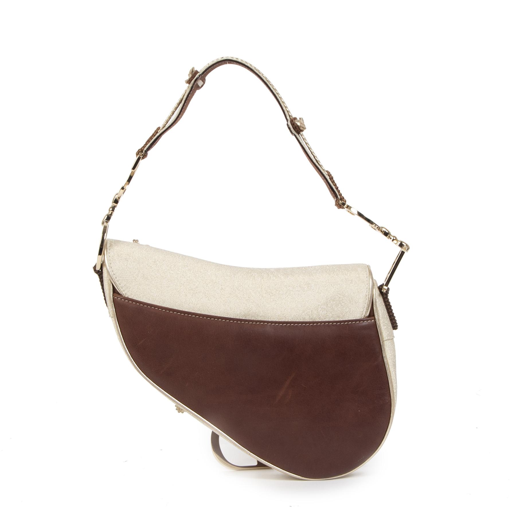 Authentieke Tweedehands Dior Brown Leather & Gold Textile Saddle Bag limited edition juiste prijs veilig online shoppen luxe merken webshop winkelen Antwerpen België mode fashion