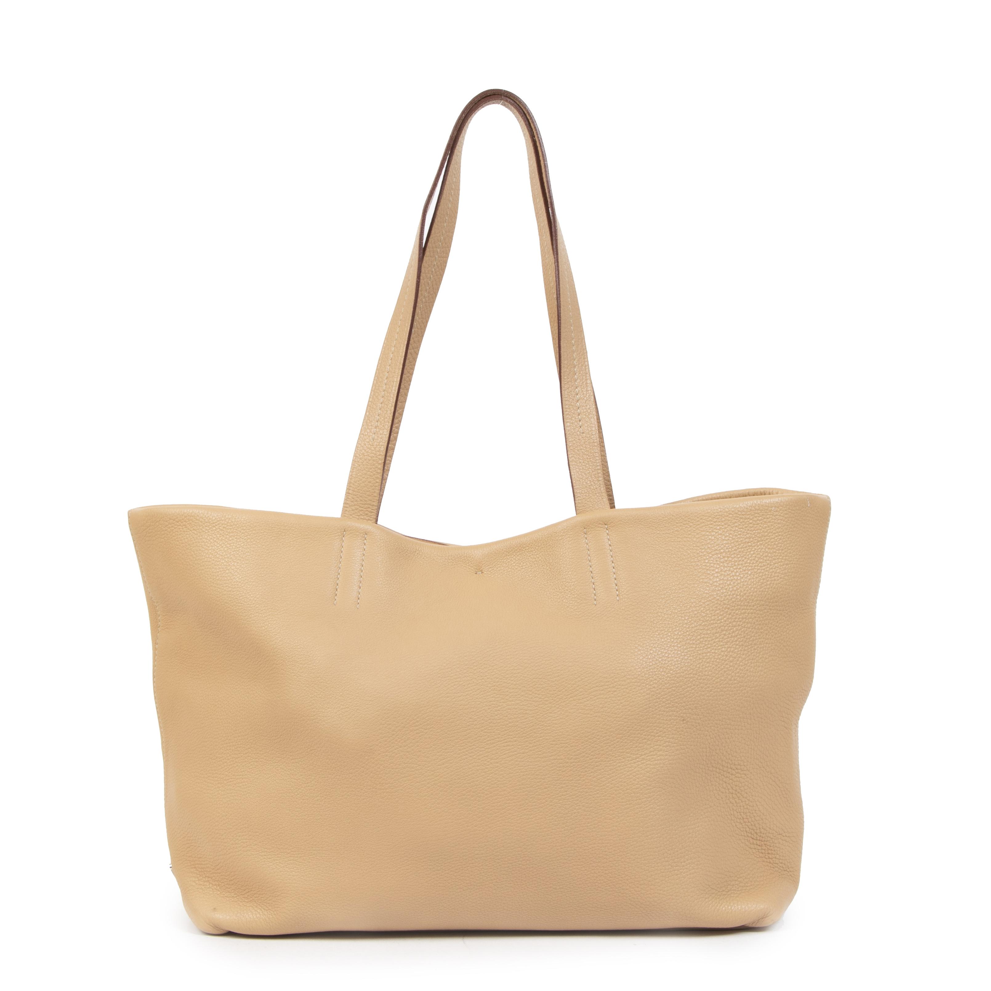 Authentieke Tweedehands Prada Beige Leather Tote Bag juiste prijs veilig online shoppen luxe merken webshop winkelen Antwerpen België mode fashion