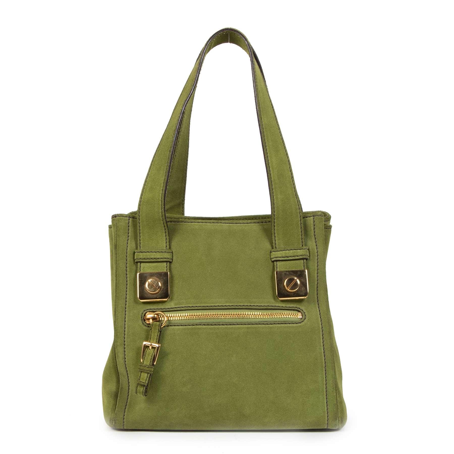 Authentic secondhand Prada Green Suede Top Handle Bag designer bags shoulder bags designer brands fashion luxury vintage webshop safe secure online shopping worldwide shipping delivery
