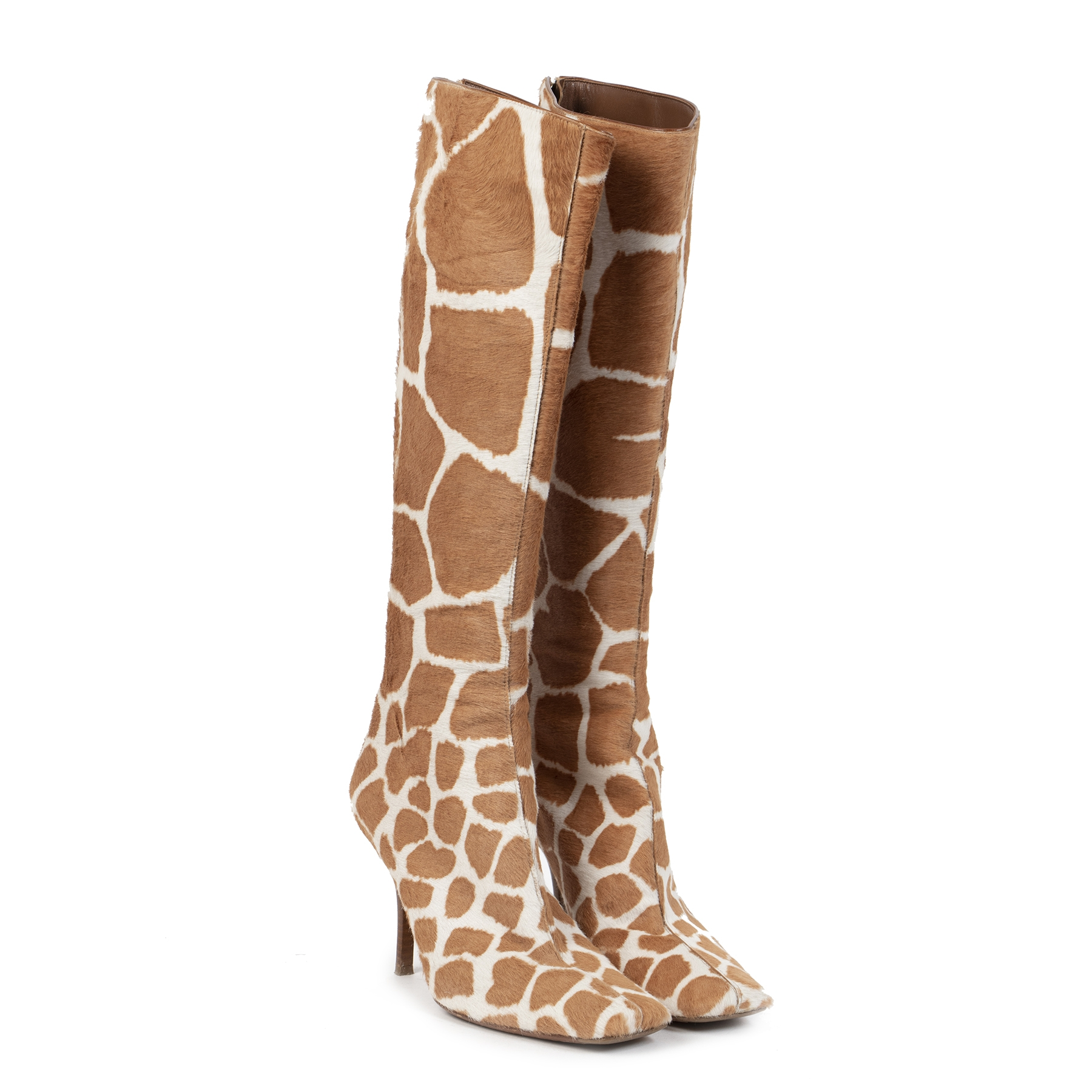 Authentic secondhand Sergio Rossi Pony Hair Leather Giraffe Boots - Size 39 designer boots shoes high heels designer brands fashion luxury vintage webshop safe secure online shopping worldwide shipping delivery