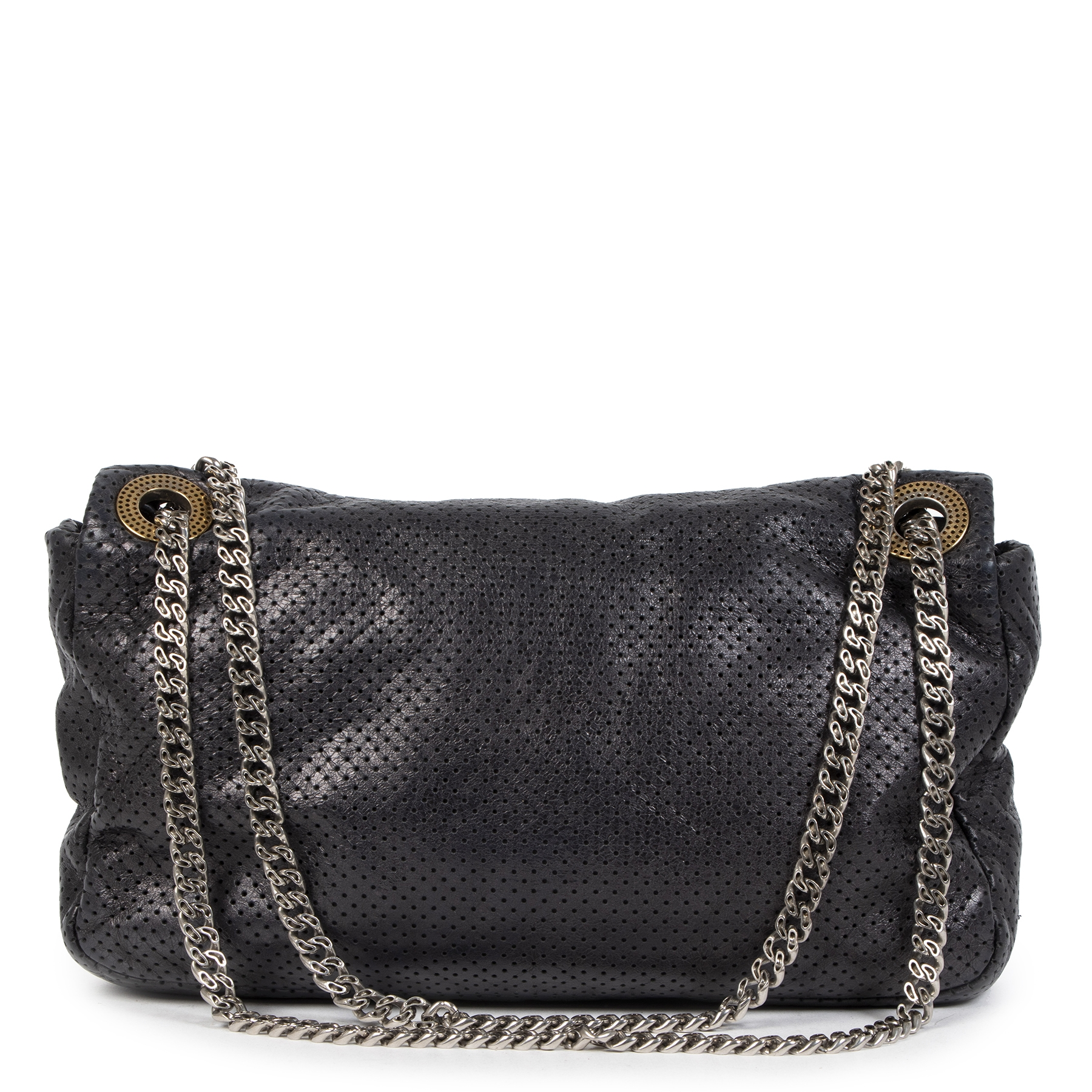 Authentieke tweedehands vintage Chanel Metallic Perforated Leather Flap Bag koop online webshop LabelLOV