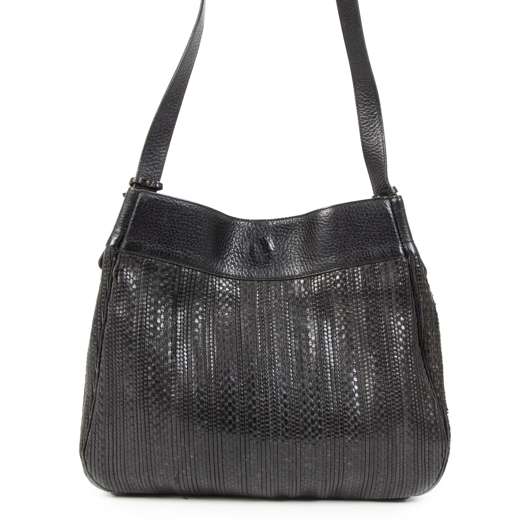 Delvaux Black Toile De Cuir Shoulder Bag