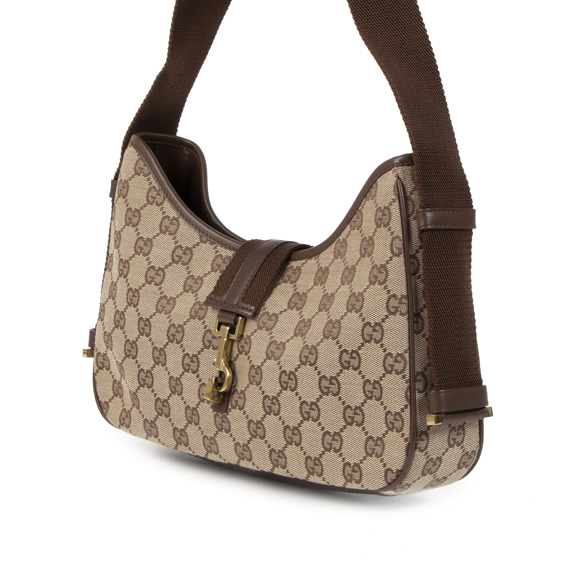 Buy authentic secondhand Gucci Monogram Canvas Shoulder bag at the right price online safe and secure at LabelLOV luxury brand webshop Antwerp Belgium