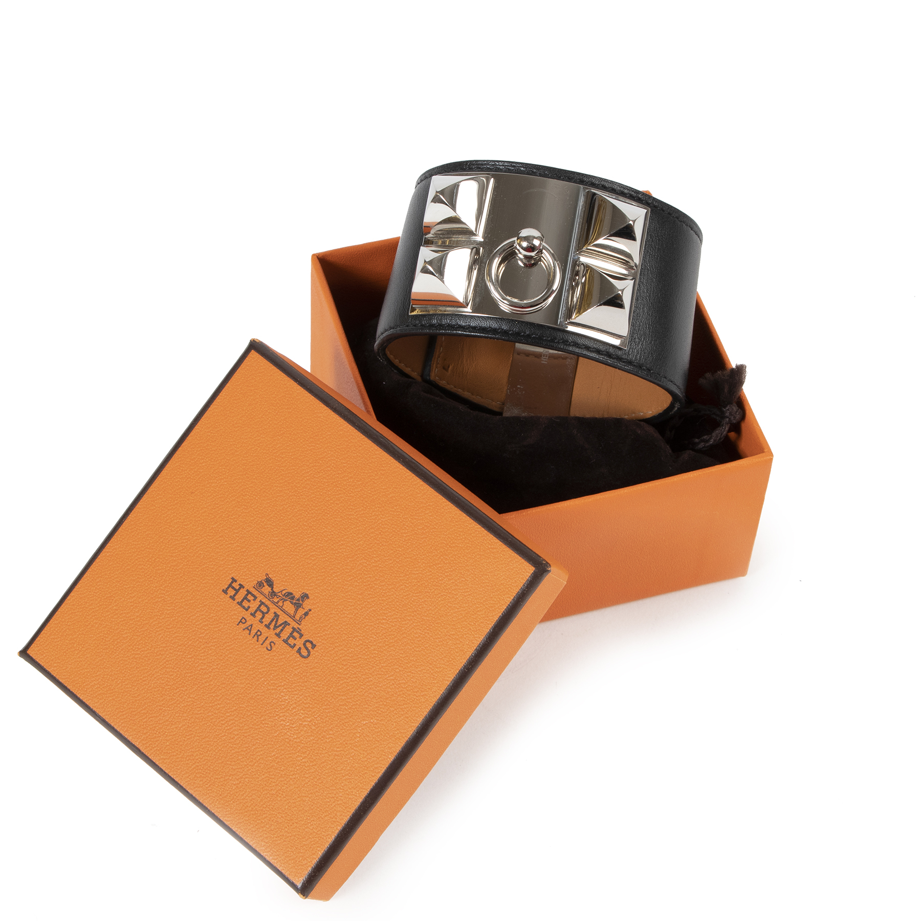 Authentieke Tweedehands Hermès Black Leather Collier De Chien Bracelet - Size Large juiste prijs veilig online shoppen luxe merken webshop winkelen Antwerpen België mode fashion