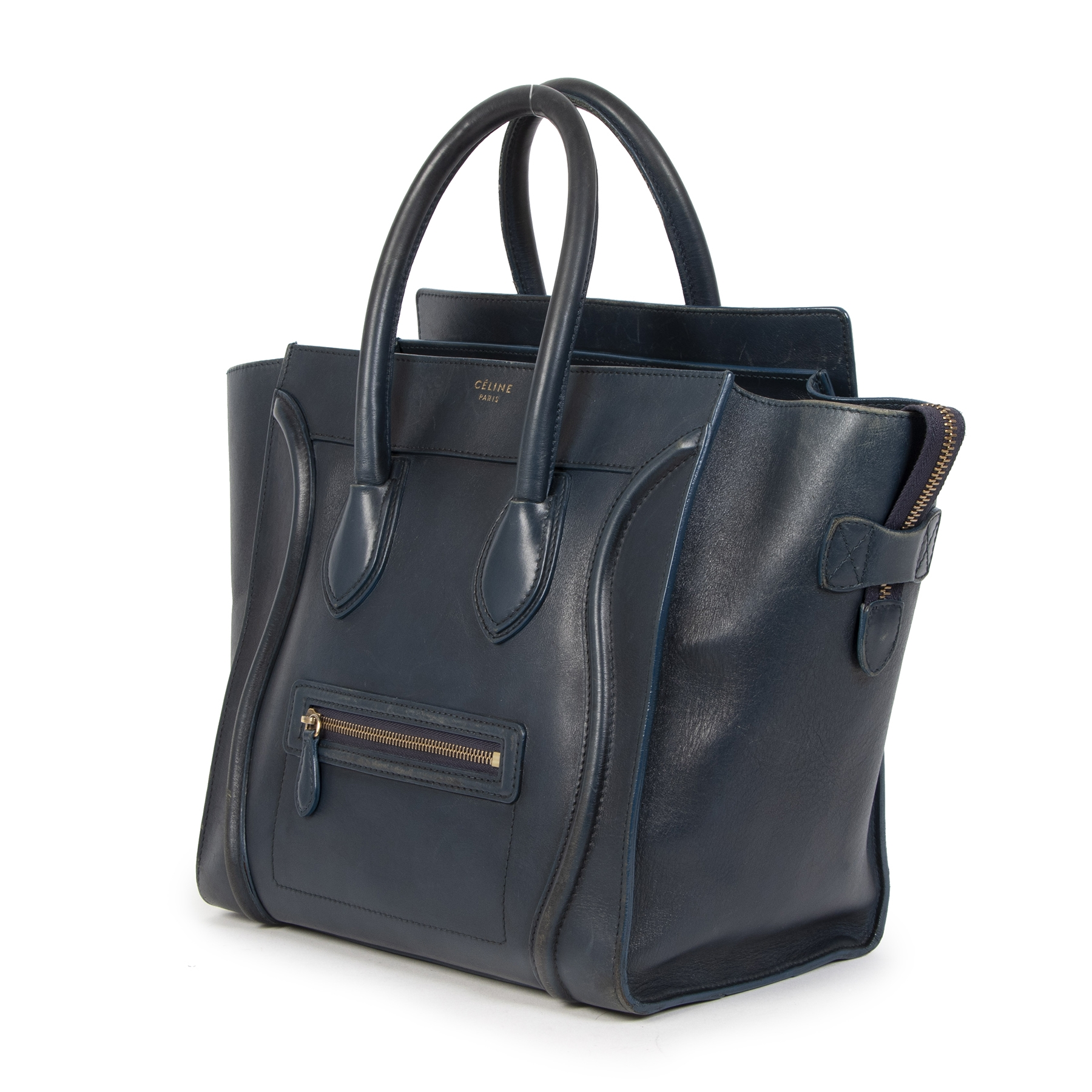 Buy authentic secondhand Celine Dark Blue Leather Luggage Bag at the right price online safe and secure at LabelLOV webshop luxury brand Antwerp Belgium