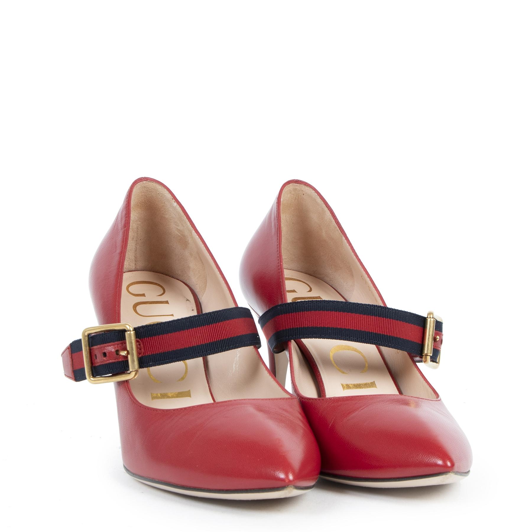 Authentieke Tweedehands Gucci Red Sylvie Pumps - Size 36 juiste prijs veilig online shoppen luxe merken webshop winkelen Antwerpen België mode fashion