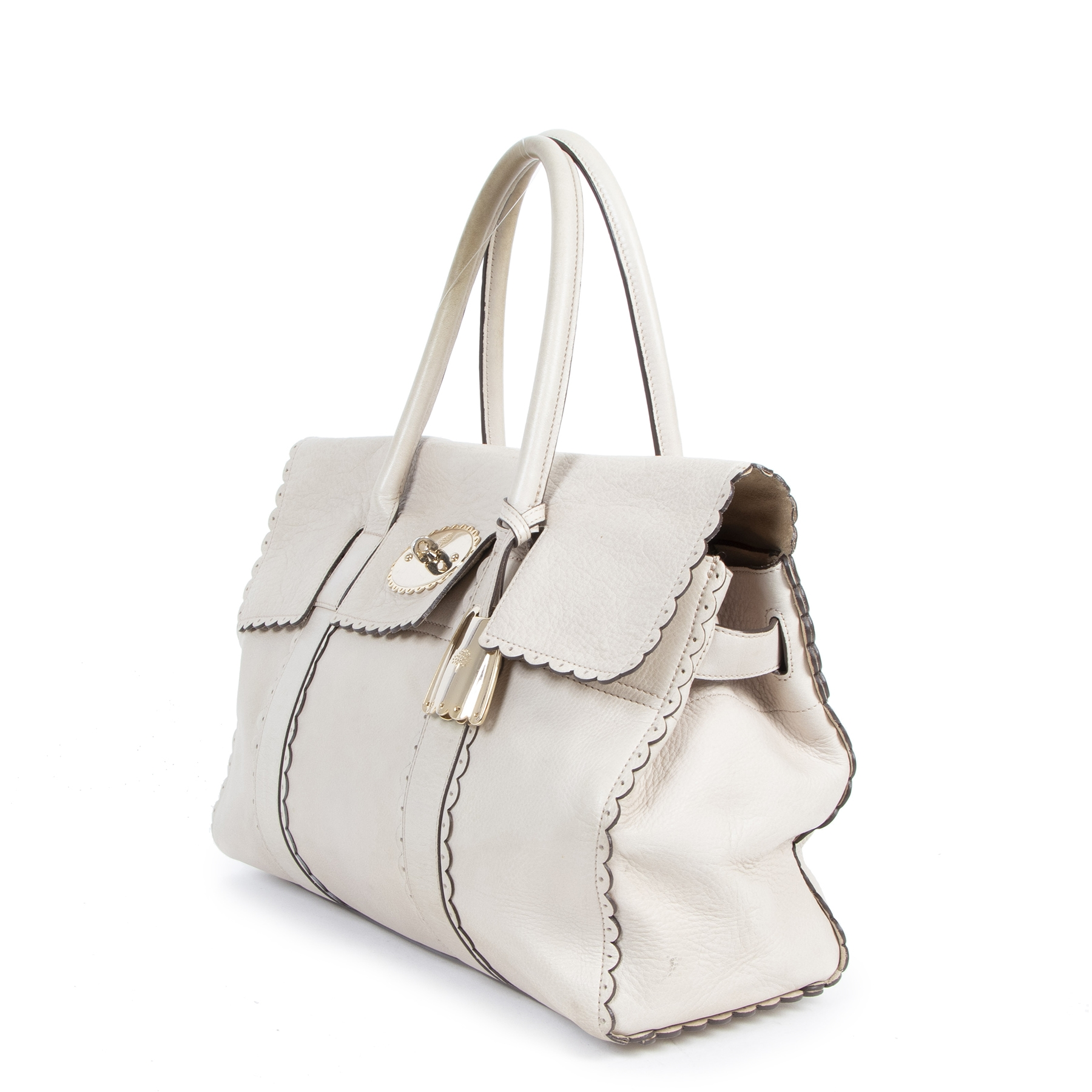 Mulberry Cookie Bayswater Satchel Pebble Beige Top Handle Bag