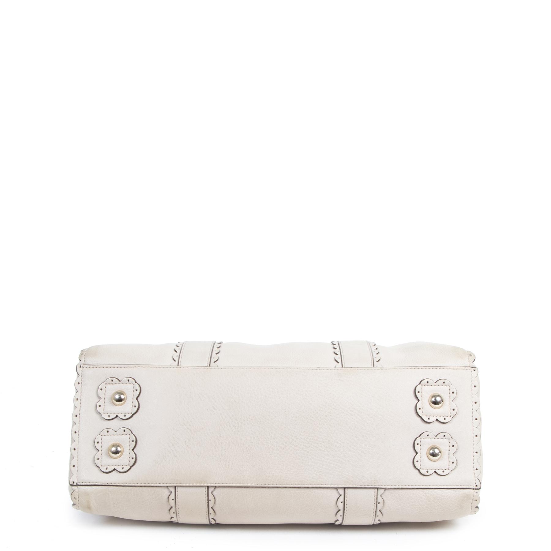acheter en ligne seconde main Mulberry Cookie Bayswater Satchel Pebble Beige Top Handle Bag