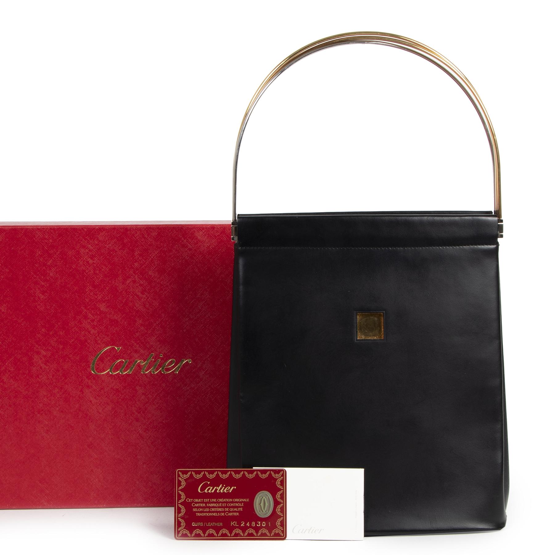 Authentic second-hand vintage Cartier Trinity Black Leather Top Handle Bag buy online webshop LabelLOV