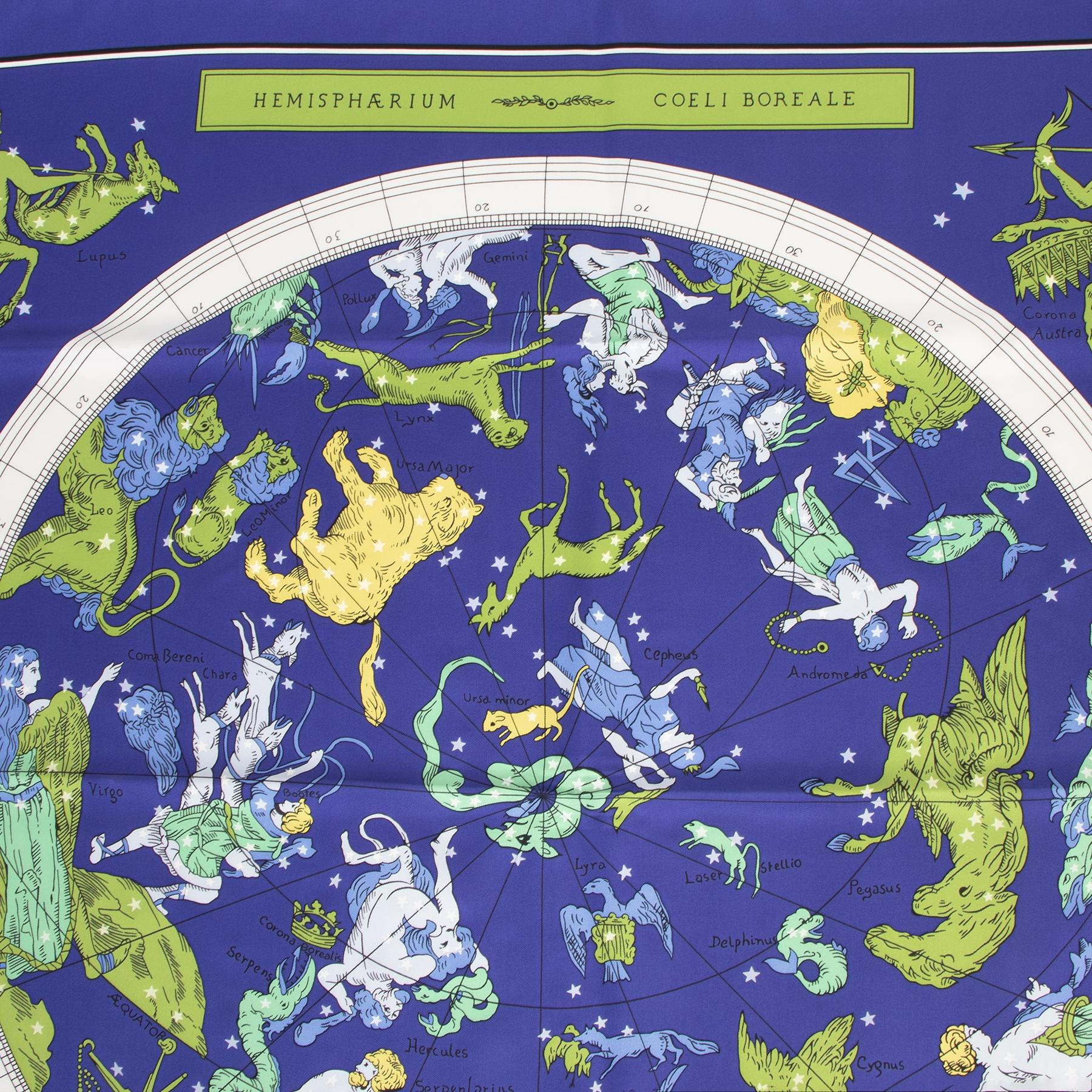 Koop authentieke tweedehands Hermès Cobalt Green Zodiac Hemisphaerium Coeli Boreale sjaals voor de juiste prijs bij LabelLOV