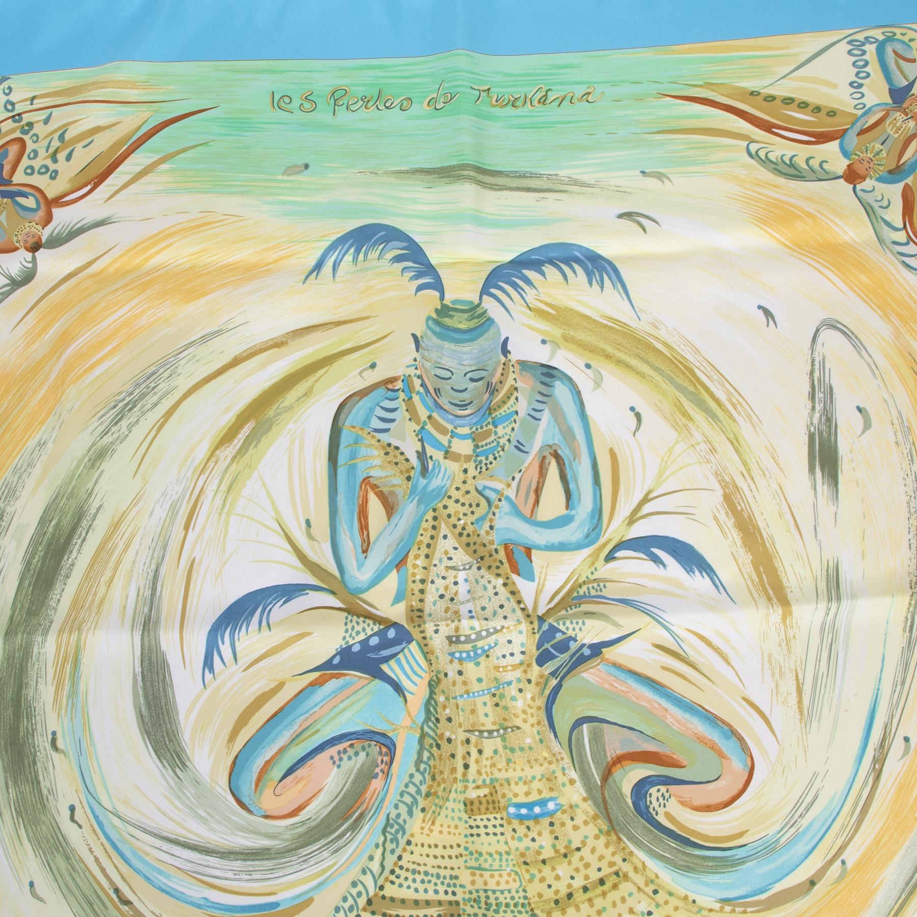 Authentieke tweedehands vintage Hermès Carré Les Perles De Turkana Scarf koop online webshop LabelLOV