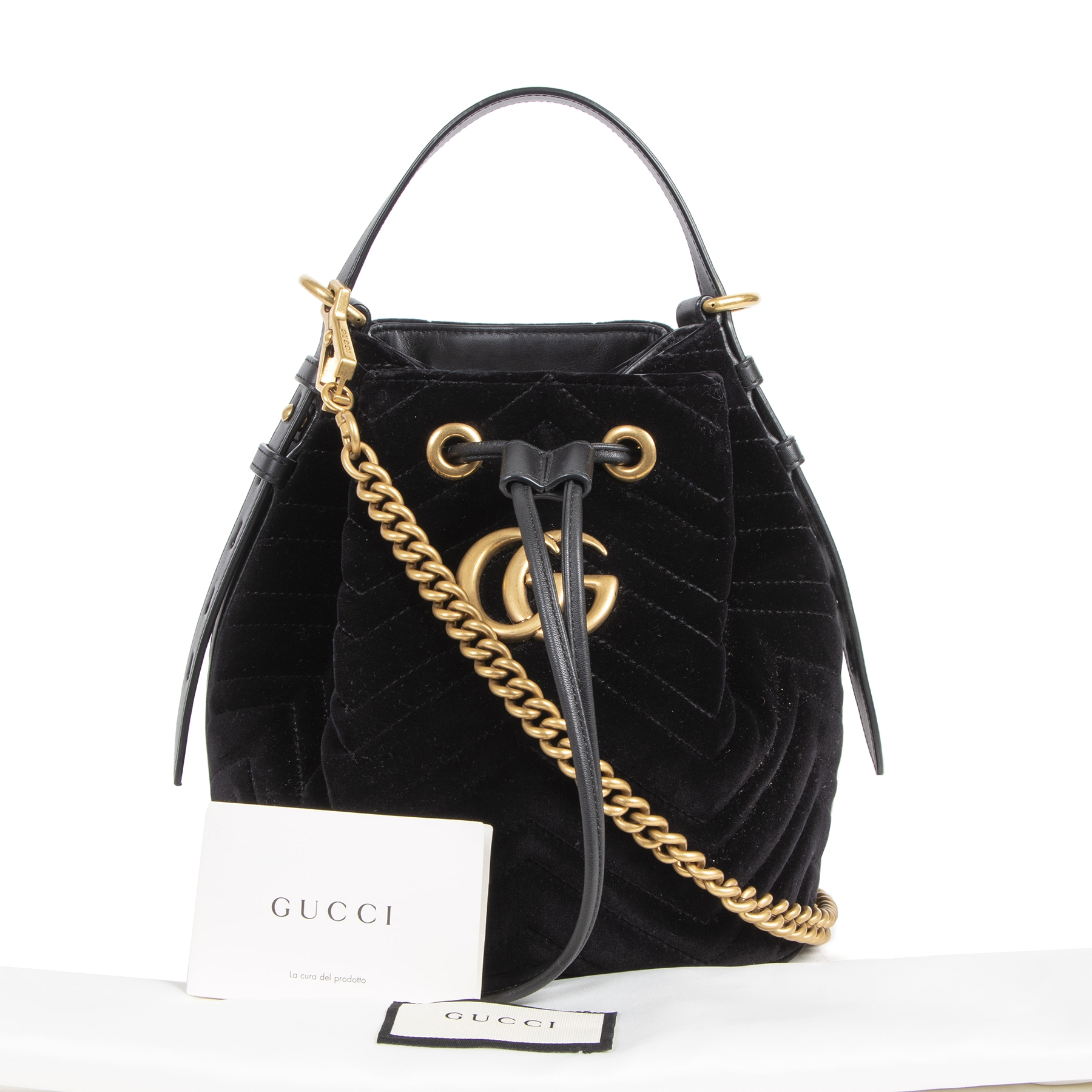 Authentieke tweedehands vintage Gucci Black Marmont Suede GG Bucket Bag koop online webshop LabelLOV
