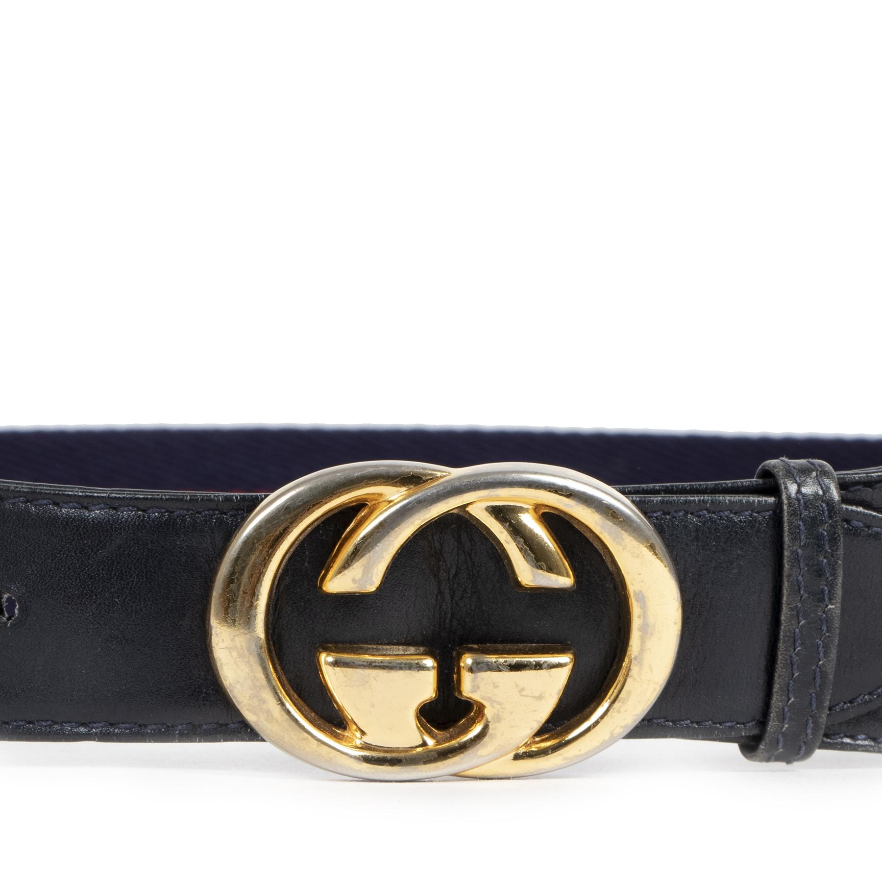 Gucci Blue Red Web Belt GG Buckle pour le meilleur prix chez Labellov à Anvers