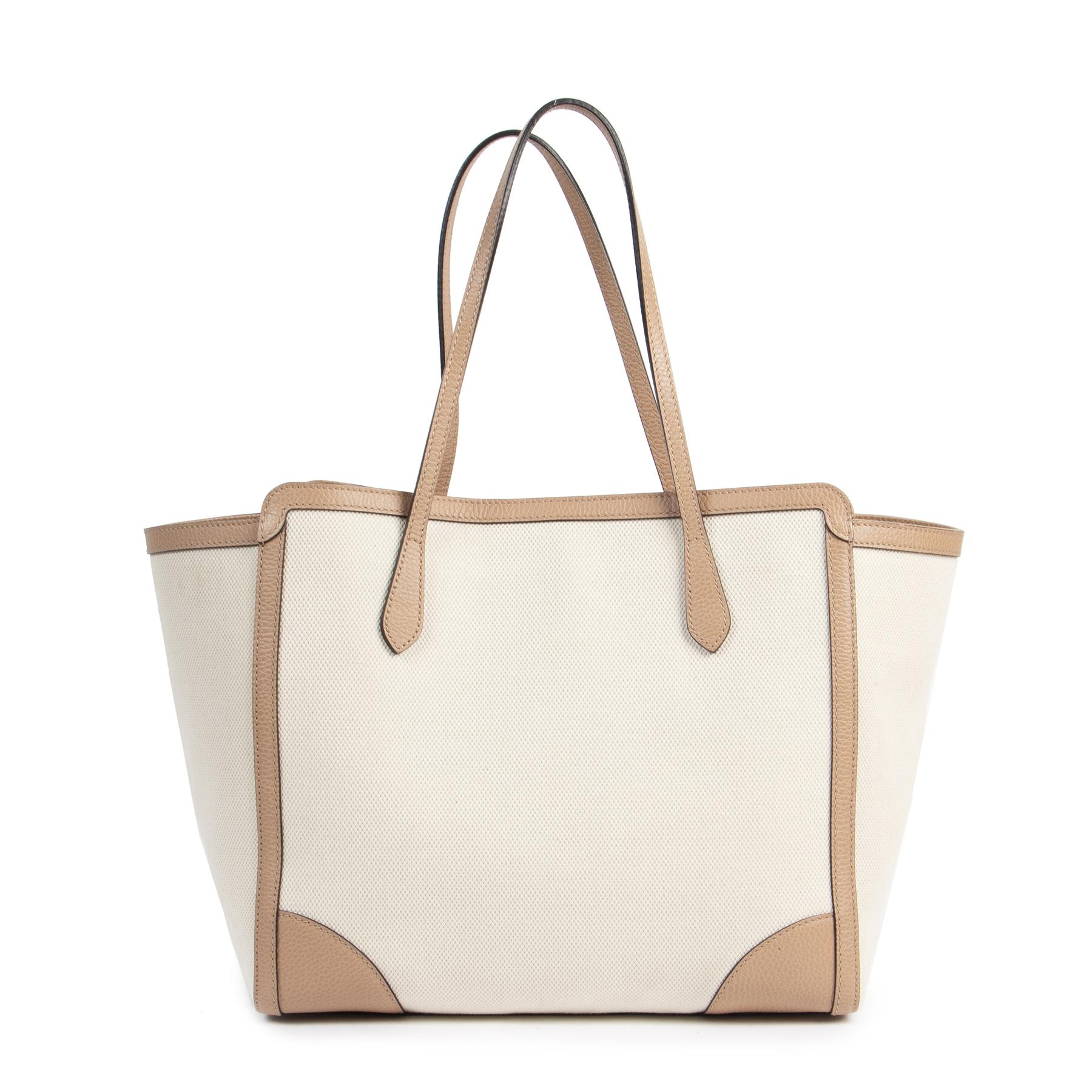 Authentieke Tweedehands Gucci Swing Two Tone Tote Bag juiste prijs veilig online shoppen luxe merken webshop winkelen Antwerpen België mode fashion