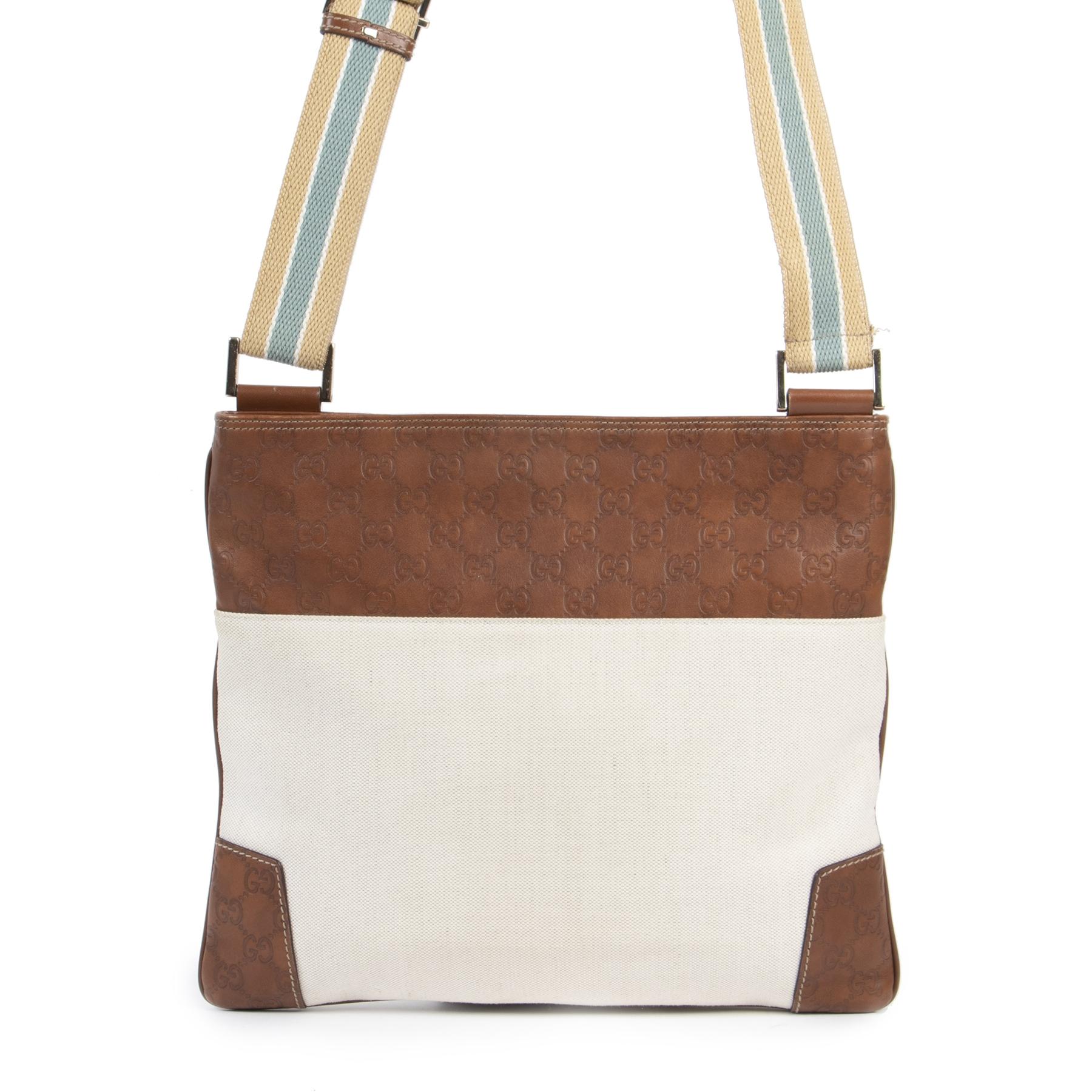 Authentieke Tweedehands Gucci Messenger Bag Leather Monogram Crossbody juiste prijs veilig online shoppen luxe merken webshop winkelen Antwerpen België mode fashion