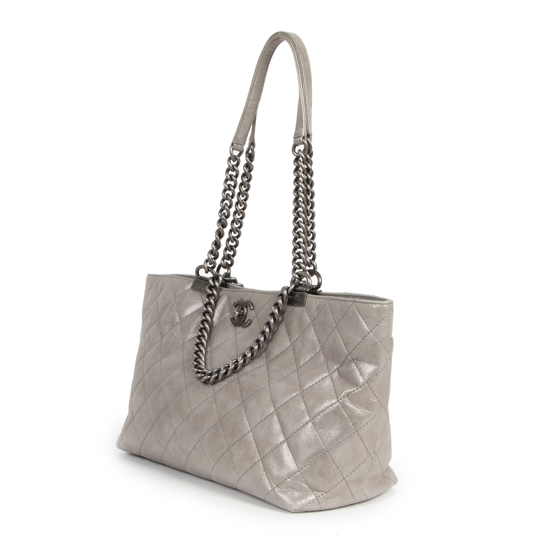 Chanel Silver Leather Quilted Shopping Tote shop safe online for the best price