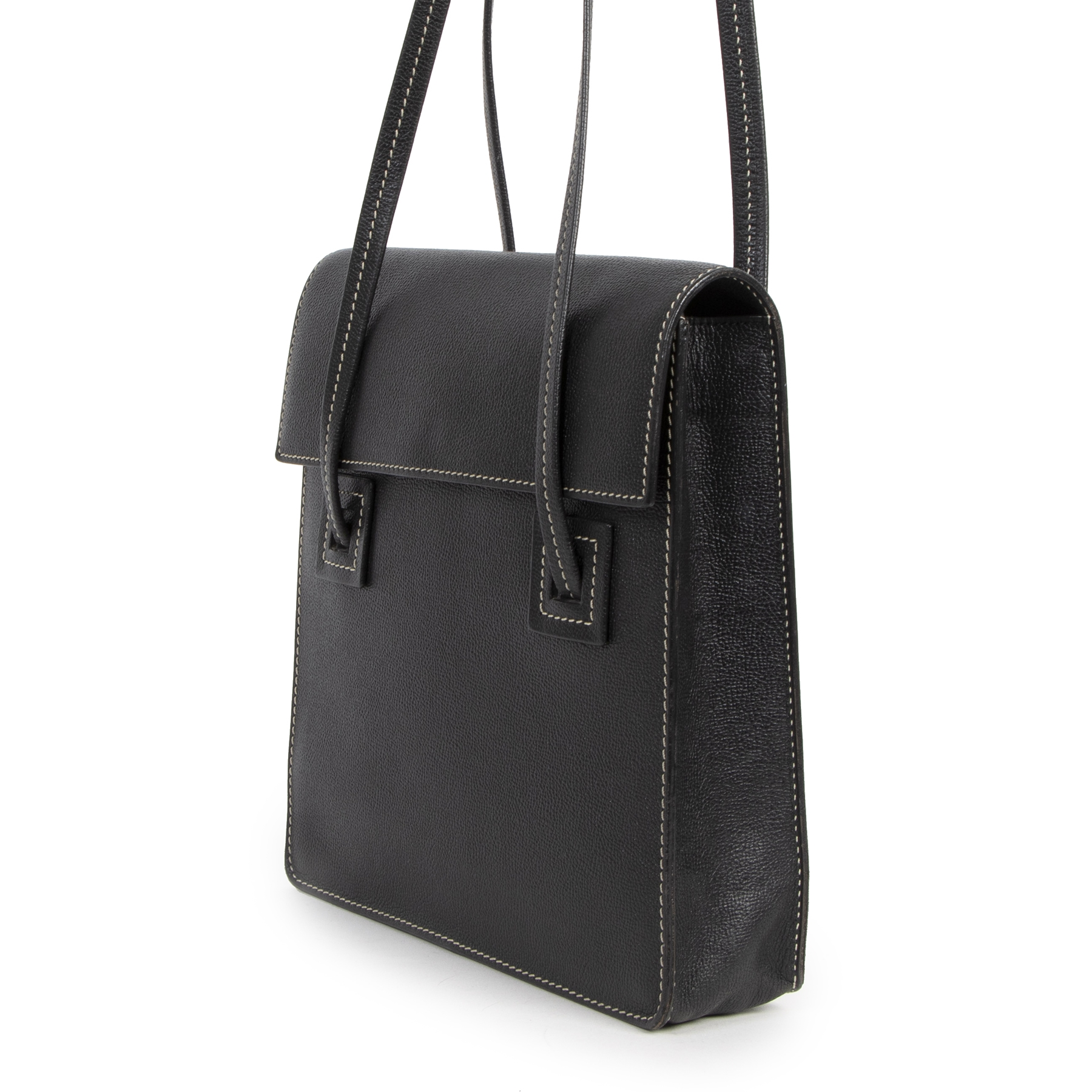 Authentieke tweedehands vintage Delvaux Black Santal Shoulder Bag koop online webshop LabellOV