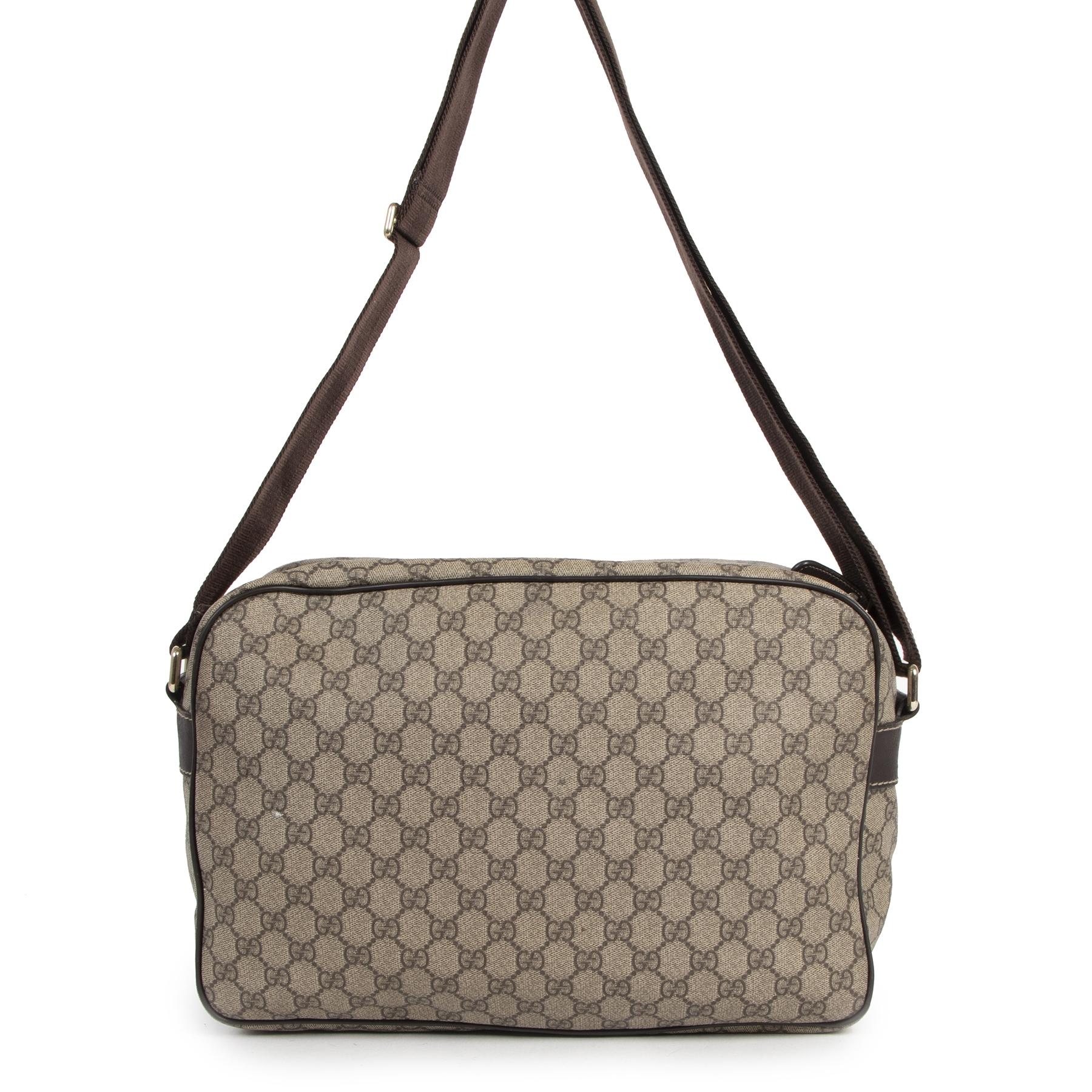 Authentieke Tweedehands Gucci GG Monogram Canvas Travel Messenger Bag juiste prijs veilig online shoppen luxe merken webshop winkelen Antwerpen België mode fashion