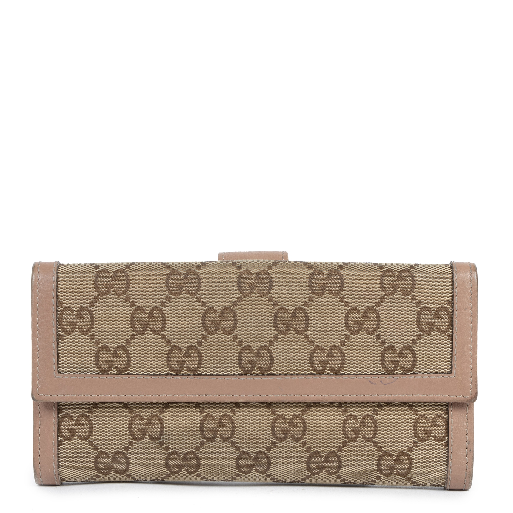 Authentic secondhand Gucci Monogram Canvas Dusty Pink Wallet designer accessories luxury vintage webshop fashion safe secure online shopping worldwide shipping