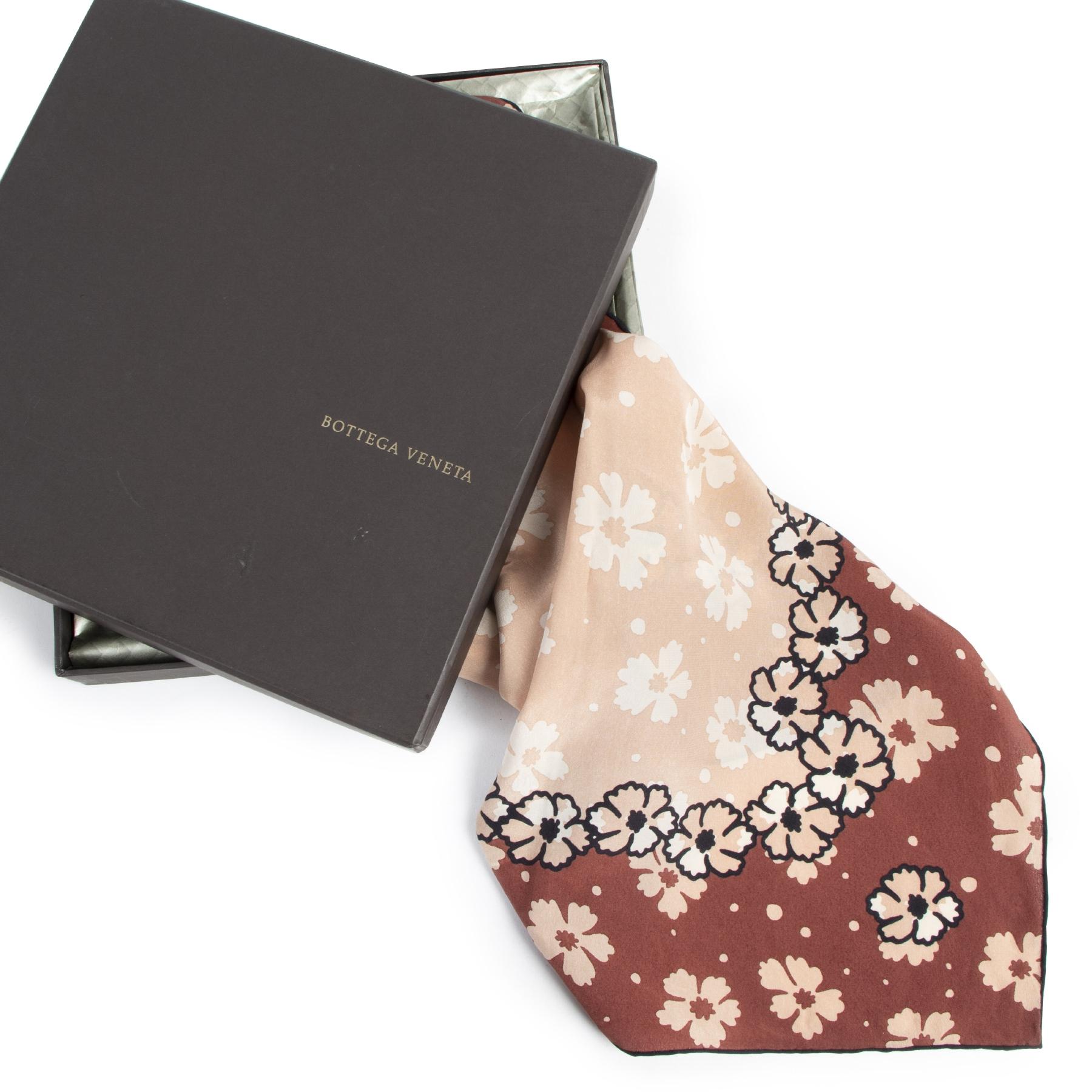 Authentic secondhand Bottega Veneta Floral Print Silk Scarf designer accessories fashion luxury vintage webshop safe secure online shopping high end designer brands