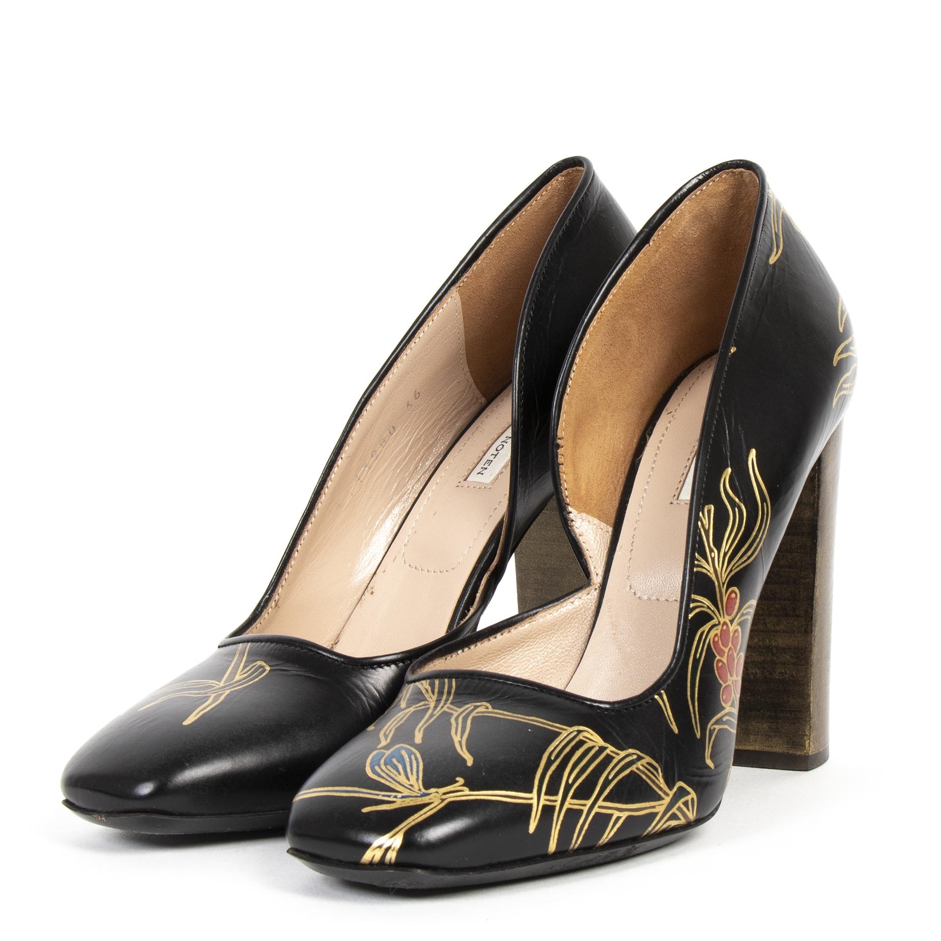 Dries Van Noten Black Leather Heels - Size 36