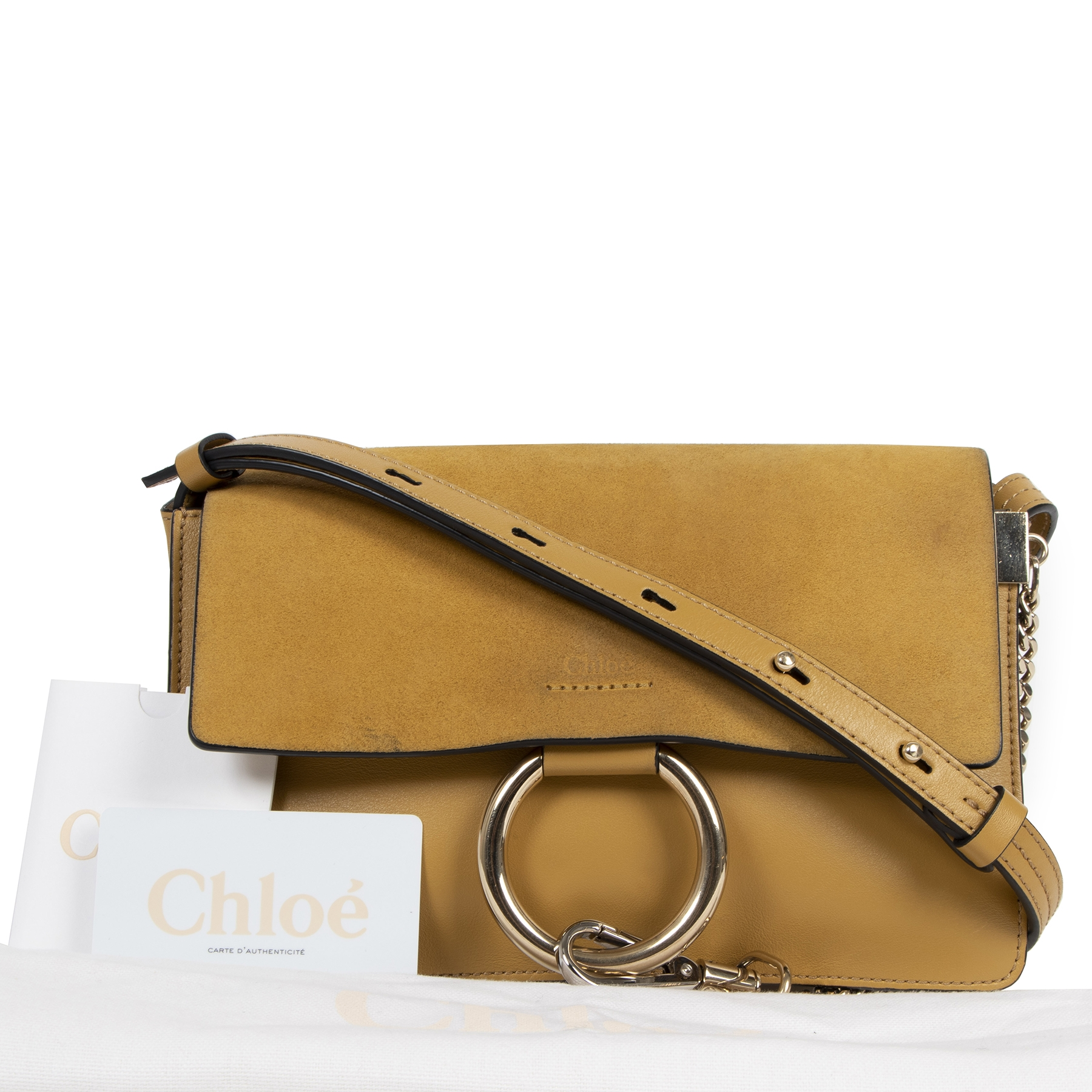 Authentic secondhand Chloé Faye Suede Leather Small Shoulder Bag designer bags fashion luxury vintage webshop designer brands online shopping
