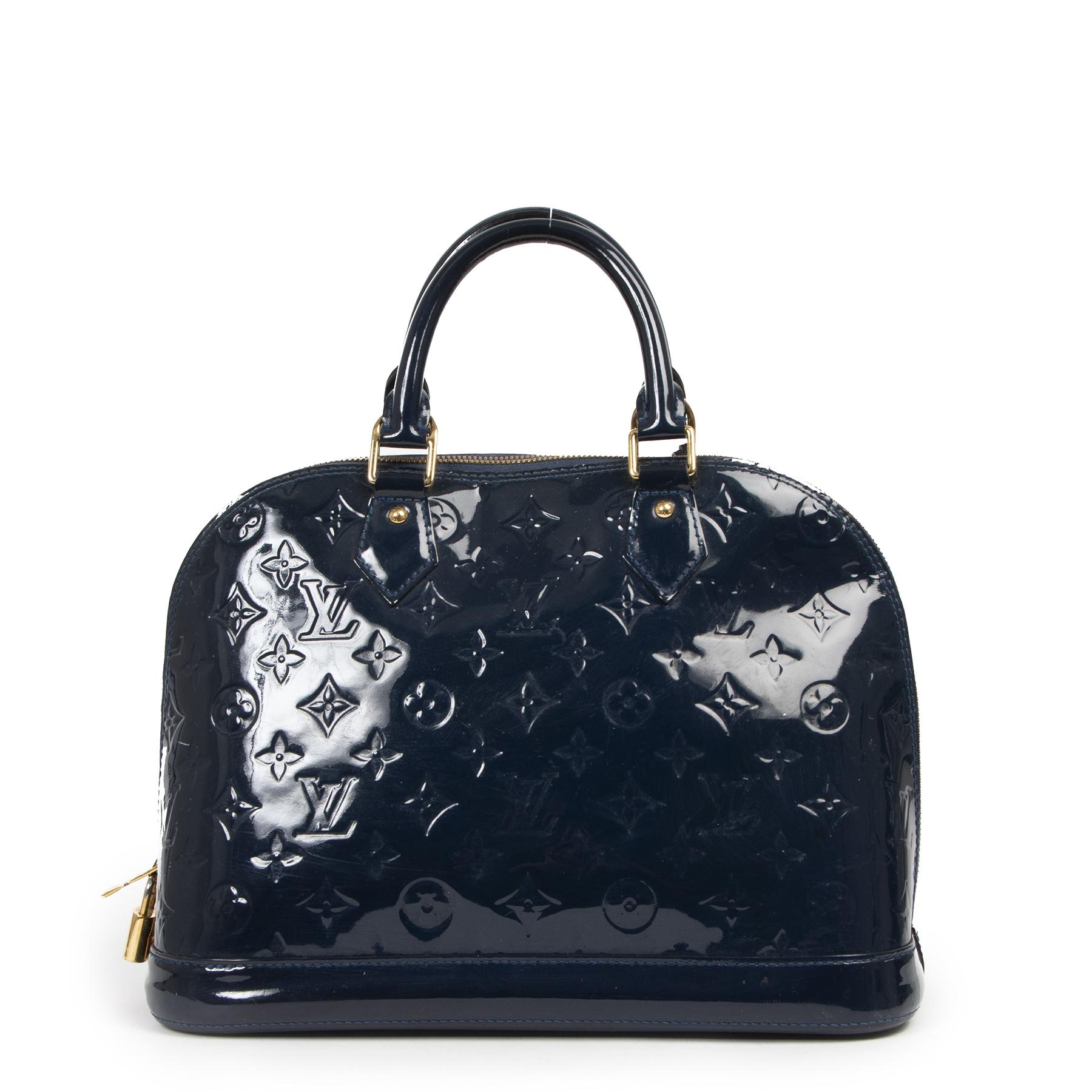 Authentieke Tweedehands Louis Vuitton Blue Vernis Alma PM juiste prijs veilig online shoppen luxe merken webshop winkelen Antwerpen België mode fashion