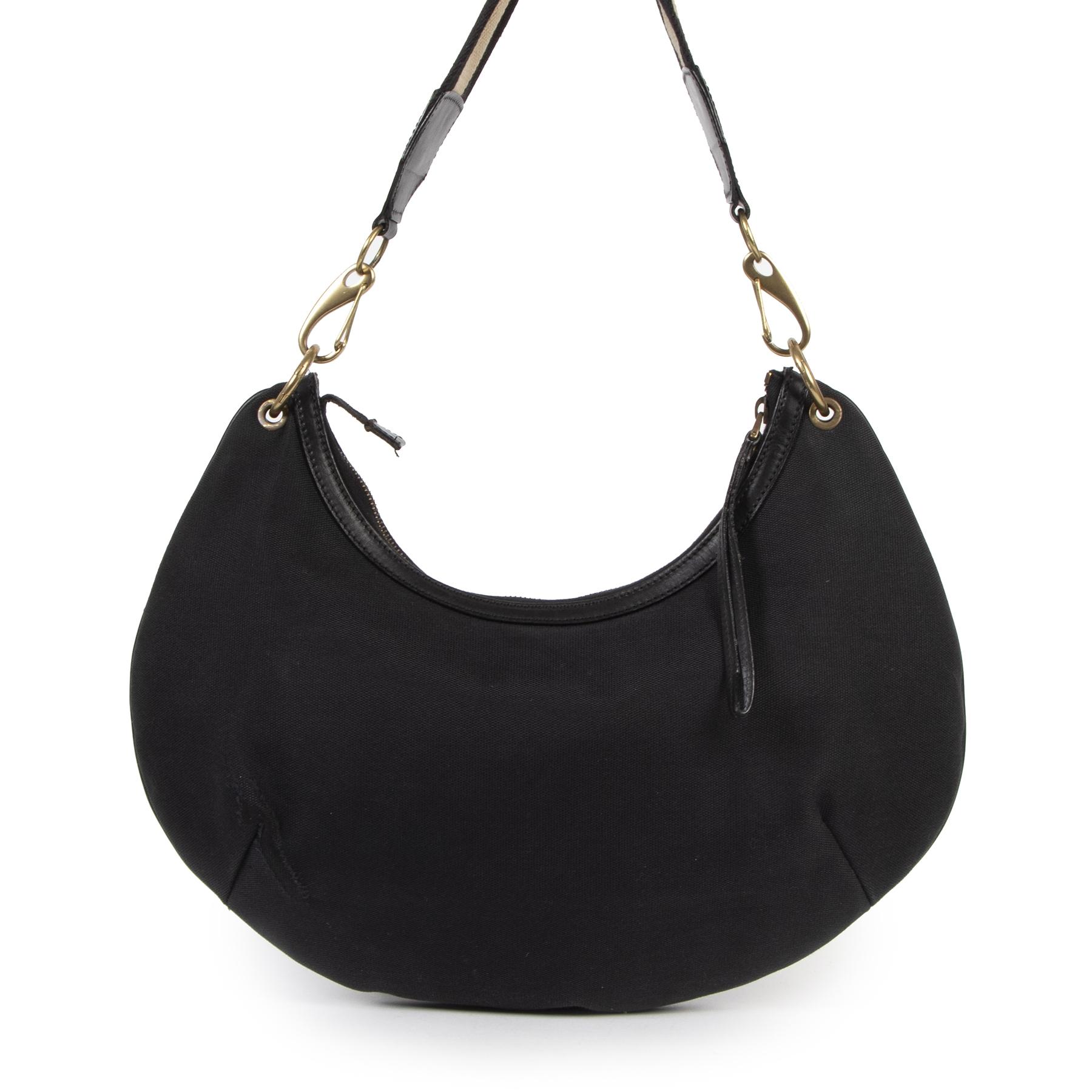 Authentieke Tweedehands Gucci Black Canvas Shoulder Bag juiste prijs veilig online shoppen luxe merken webshop winkelen Antwerpen België mode fashion