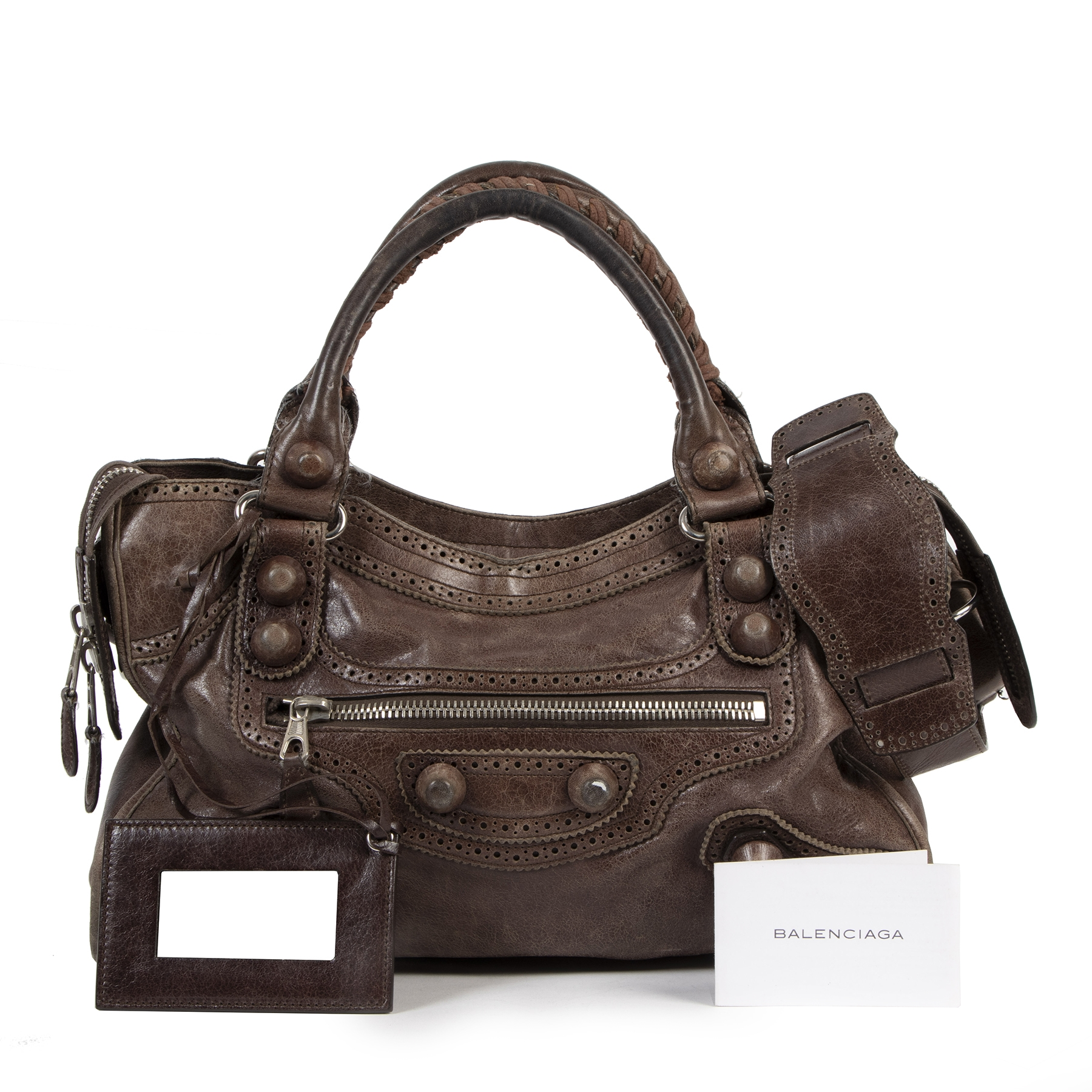 Authentic secondhand Balenciaga City Giant Brown Leather Bag designer bags fashion luxury vintage webshop safe secure online shopping