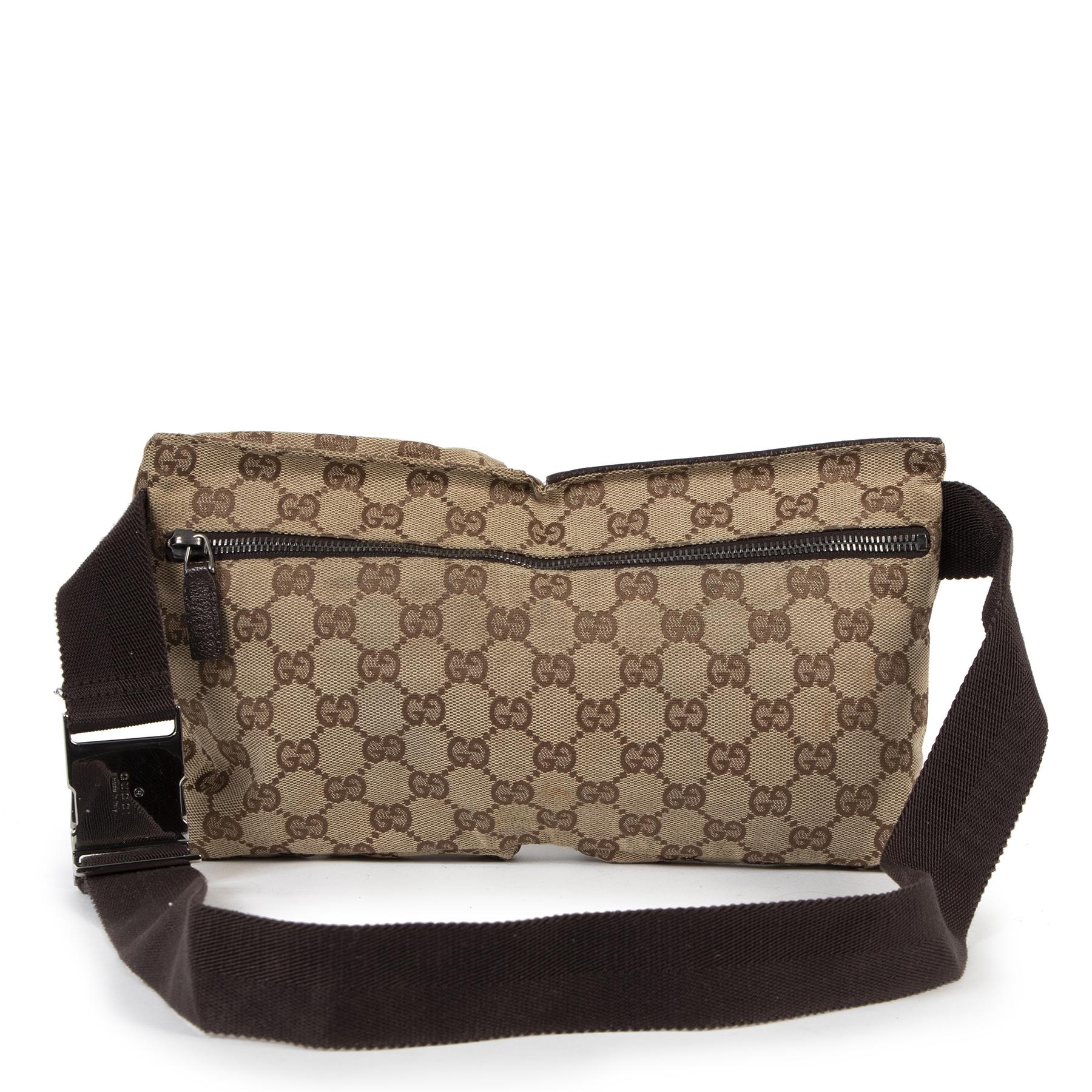 Authentieke Tweedehands Gucci Beige Monogram Pattern Supreme Belt Bag juiste prijs veilig online shoppen luxe merken webshop winkelen Antwerpen België mode fashion