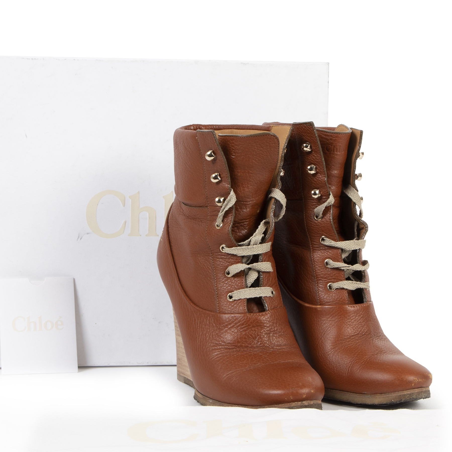 Secondhand Chloe Brown Leather Laceup Boots