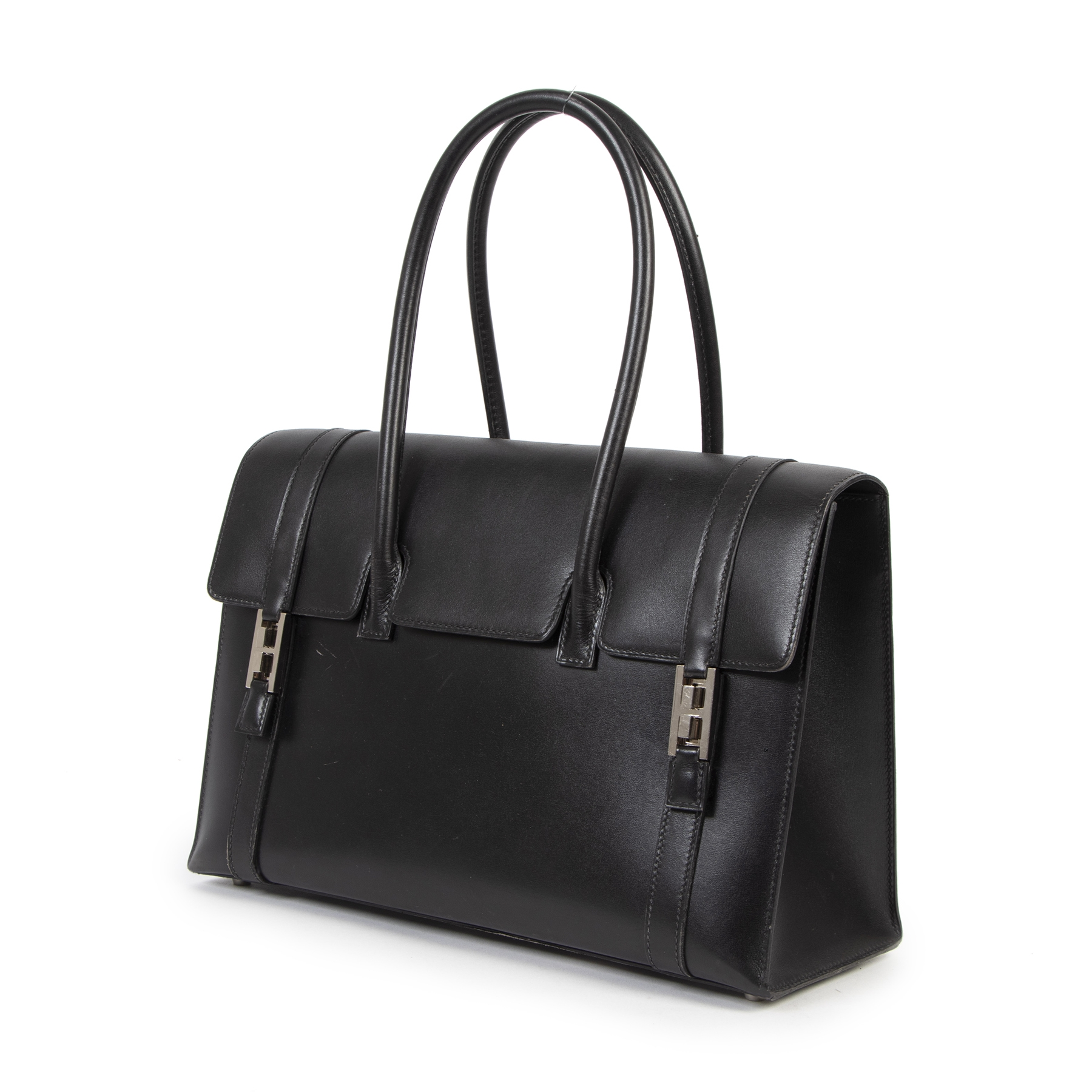 Authentieke tweedehands vintage Hermès Drag 32 Black Boxcalf Leather koop online webshop LabelLOV