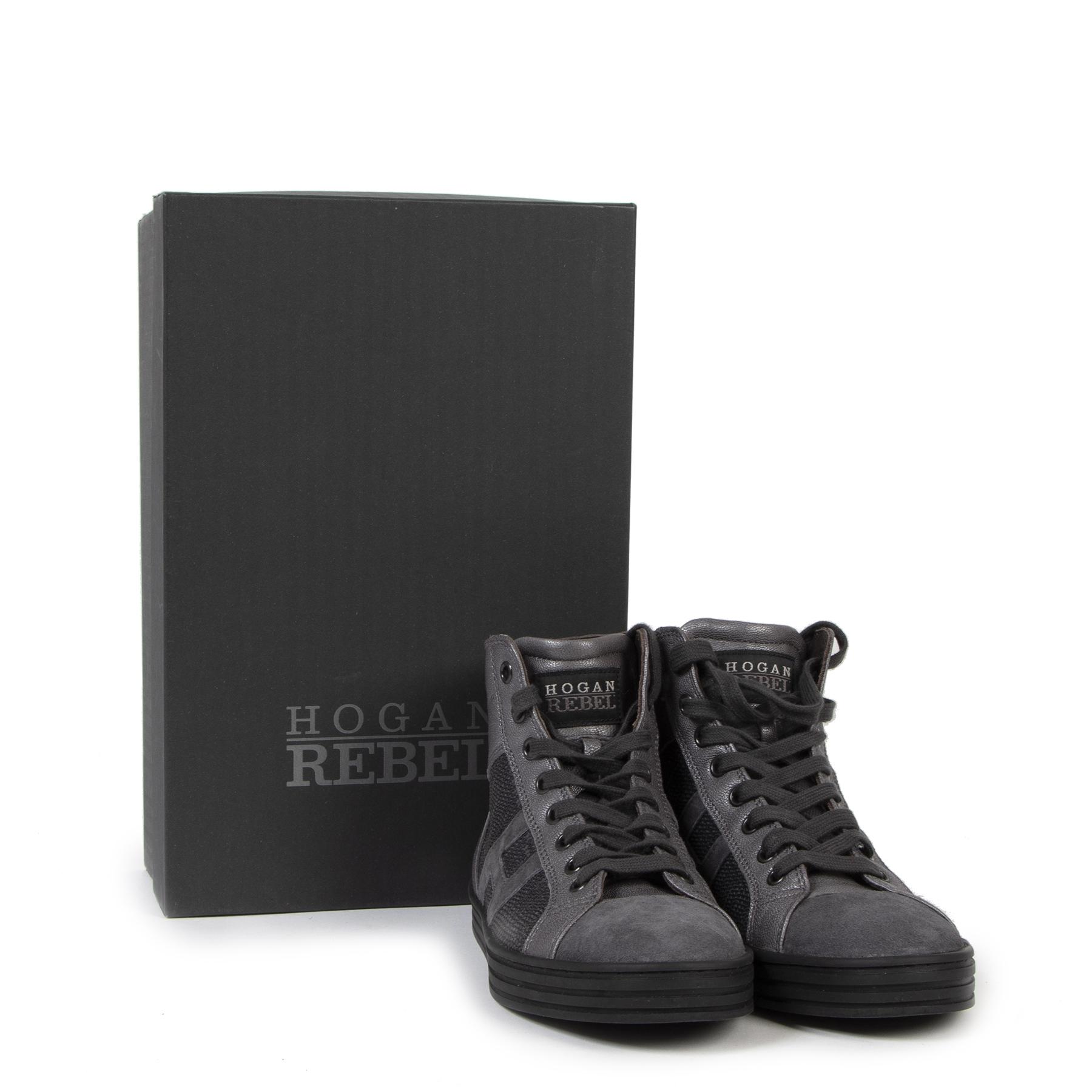 Authentieke Tweedehands Hogan Grey Leather Glitter Sneakers - Size 38 juiste prijs veilig online shoppen luxe merken webshop winkelen Antwerpen België mode fashion