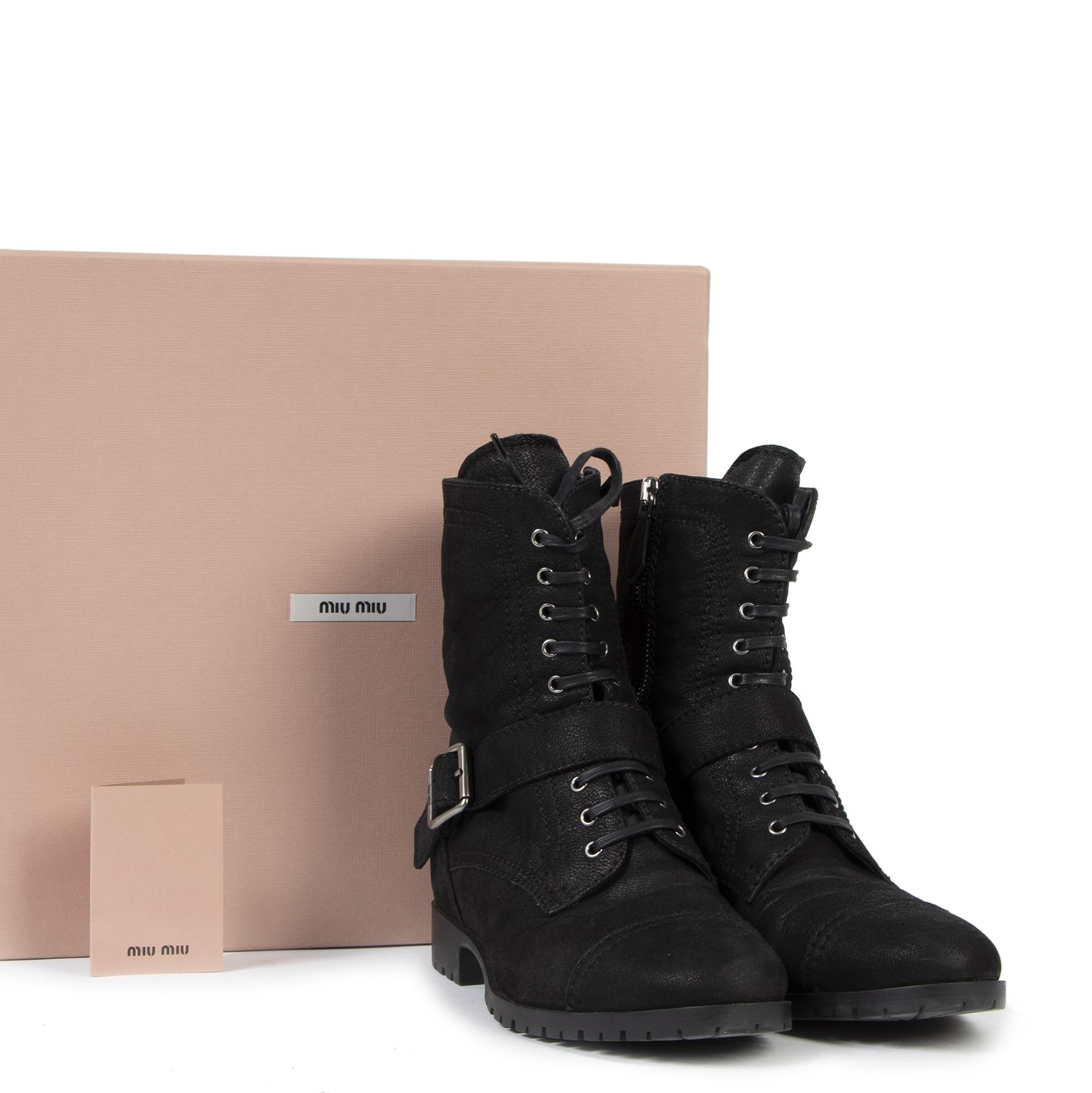 Authentic secondhand Miu Miu Black Leather Boots - Size 39 designer shoes designer brands fashion luxury vintage webshop