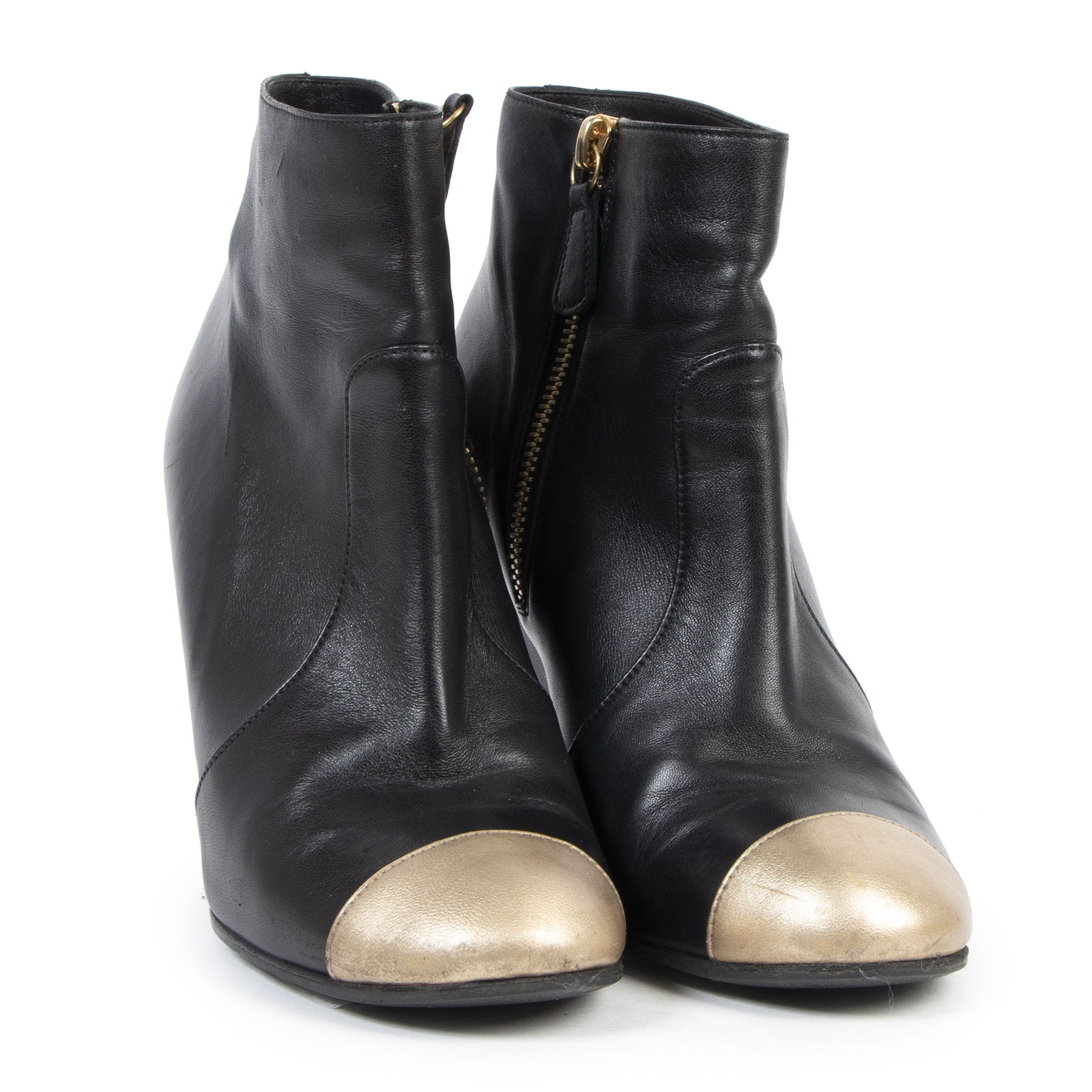 Authentic secondhand Chanel Black Leather Wedge Boots Gold Toe - Size 37  designer shoes high heels ankle boots fashion luxury vintage webshop safe secure online shopping