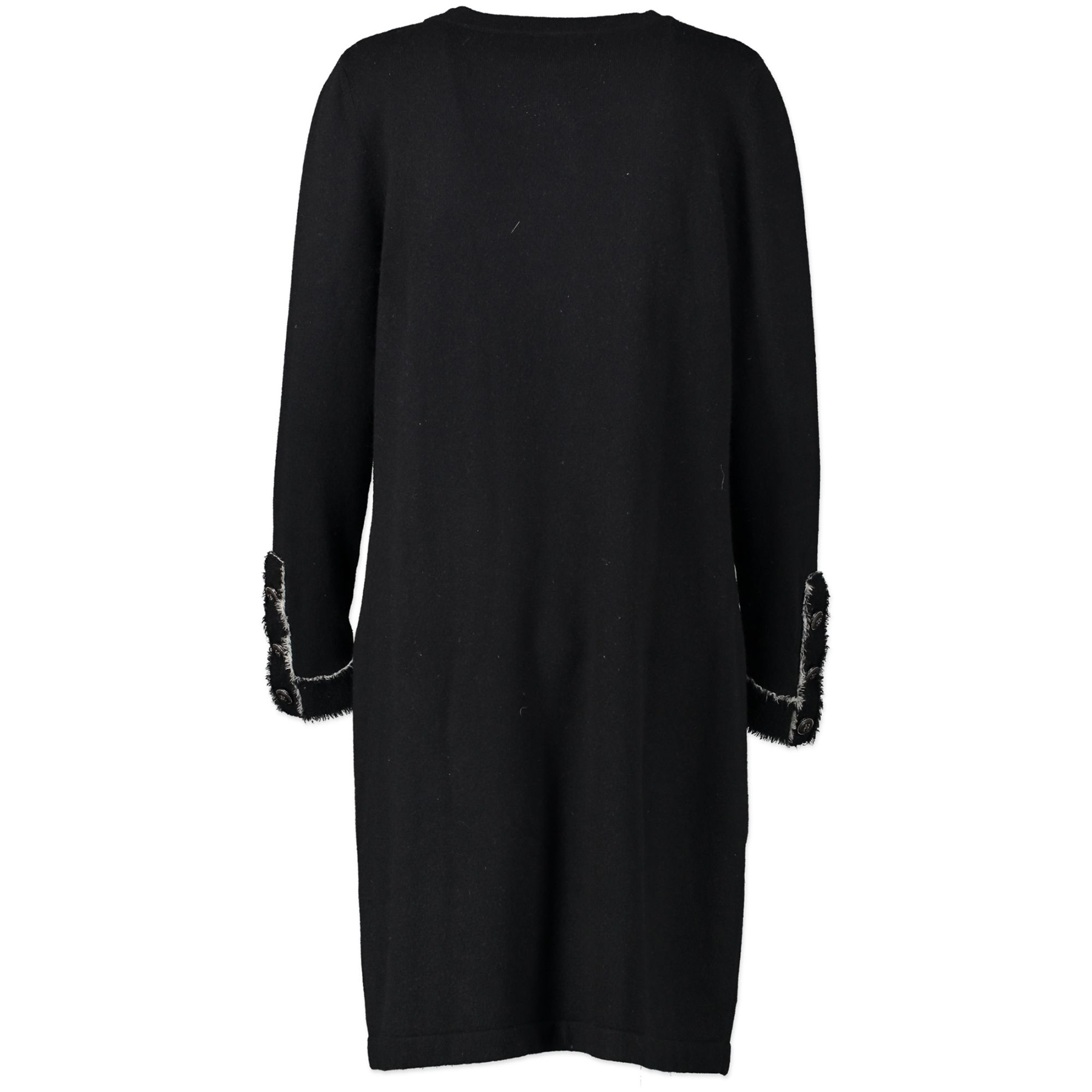 Chanel Black Cashmere Henley Sweater Dress - FR40
