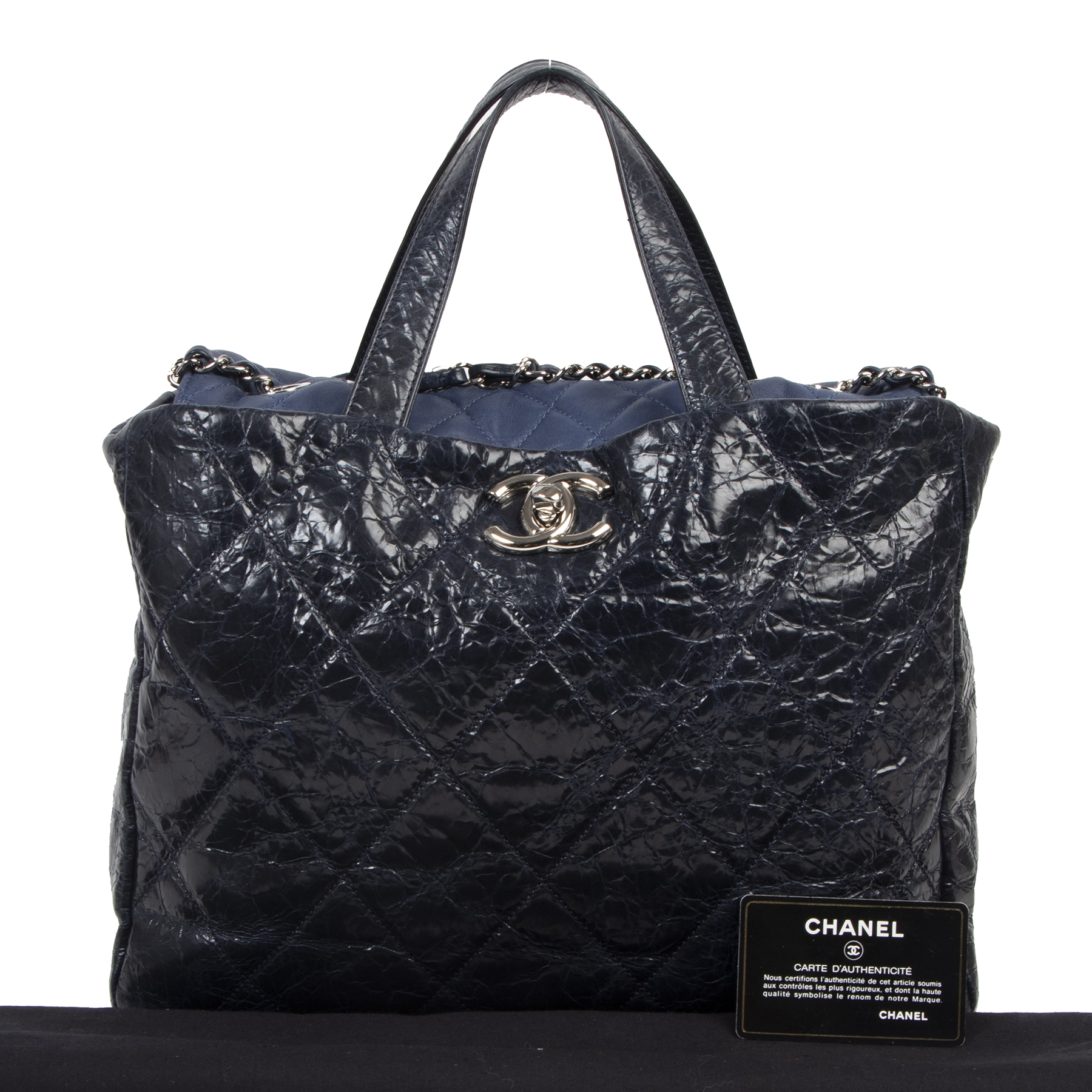 shop online at the best price Chanel Blue Distressed Leather Tote Bag