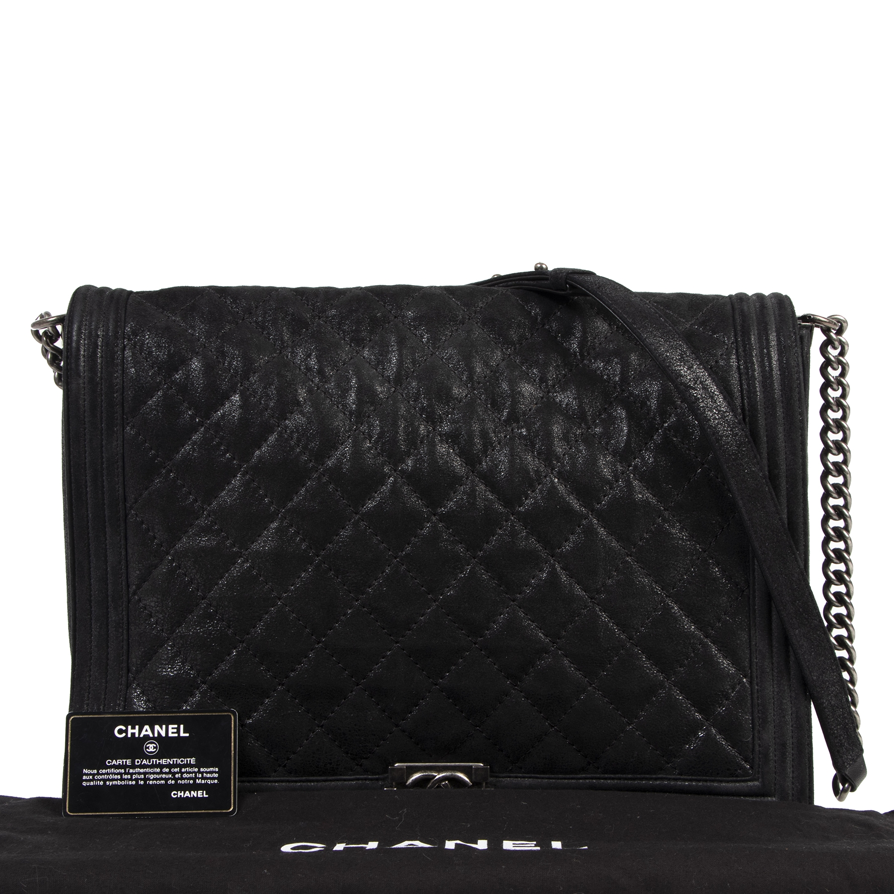 We buy and sell your authentic preloved designer items online Chanel Boy Flap Gentle Quilted XL Black