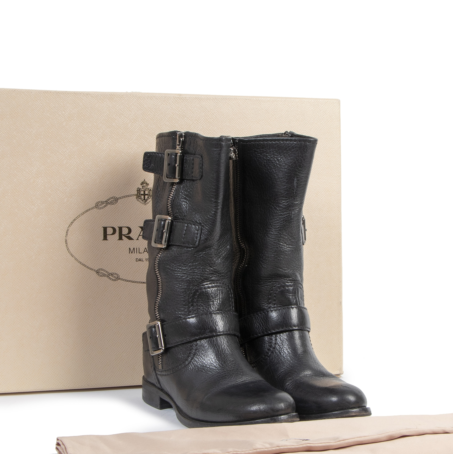 Authentic secondhand Prada Black Leather Zip Up Boots - Size 36 designer shoes luxury vintage webshop fashion safe secure online shopping
