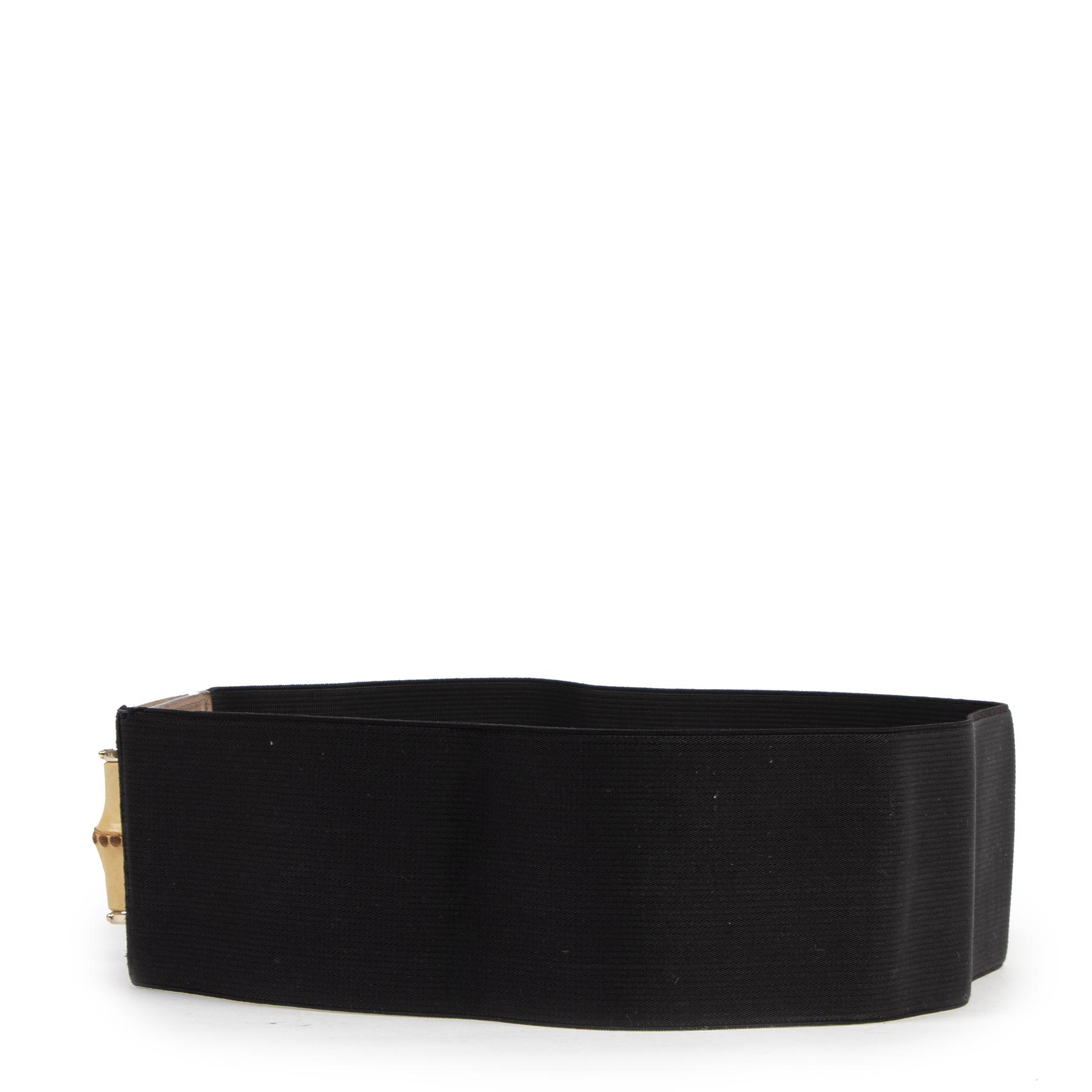 Authentieke Tweedehands Gucci Black Bamboo Lock Buckle Stretch Waist Belt - Size 80  juiste prijs veilig online shoppen luxe merken webshop winkelen Antwerpen België mode fashion