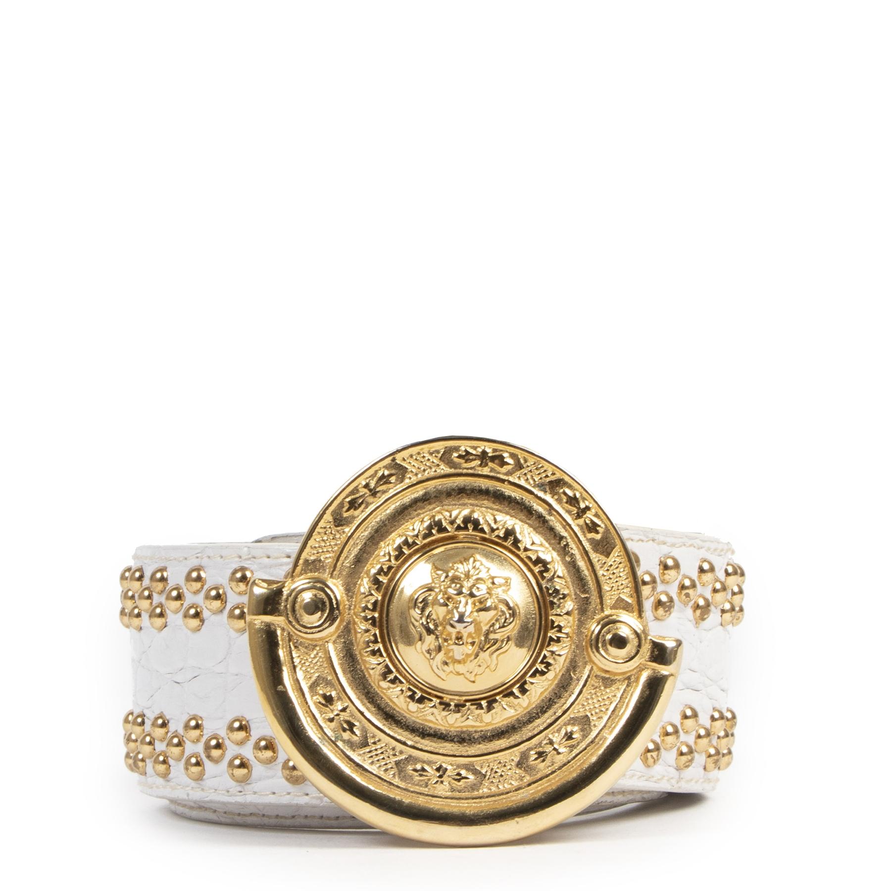 Authentic secondhand Versus Versace White Gold Studded Belt - Size 85 designer accessories fashion luxury vintage webshop designer brands safe secure online shopping