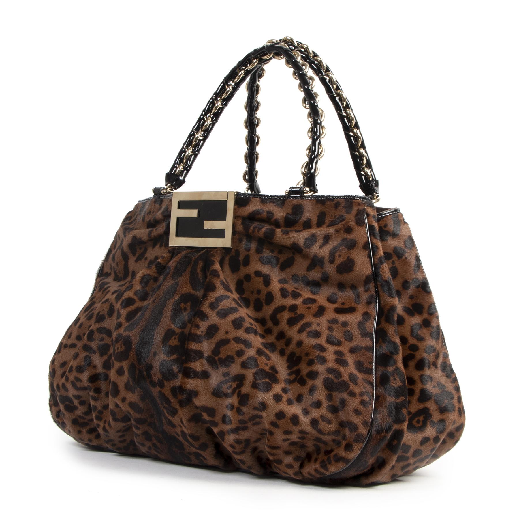 Authentieke Tweedehands Fendi Leopard Print Ponyhair Patent Leather Tote juiste prijs veilig online shoppen luxe merken webshop winkelen Antwerpen België mode fashion