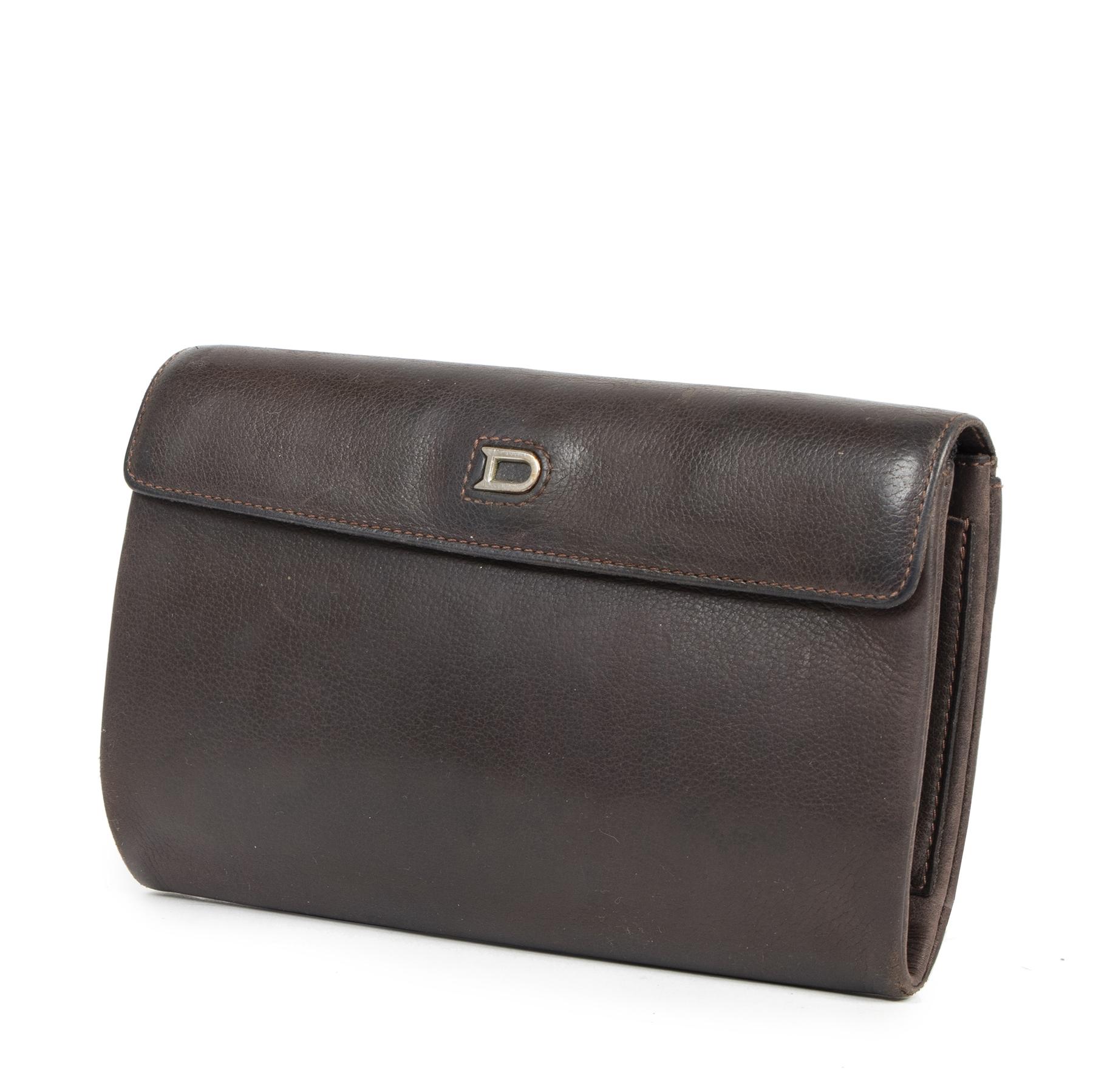 Authentic secondhand Delvaux Brown Leather Wallet Pouch designer bags luxury vintage webshop fashion safe secure online shopping