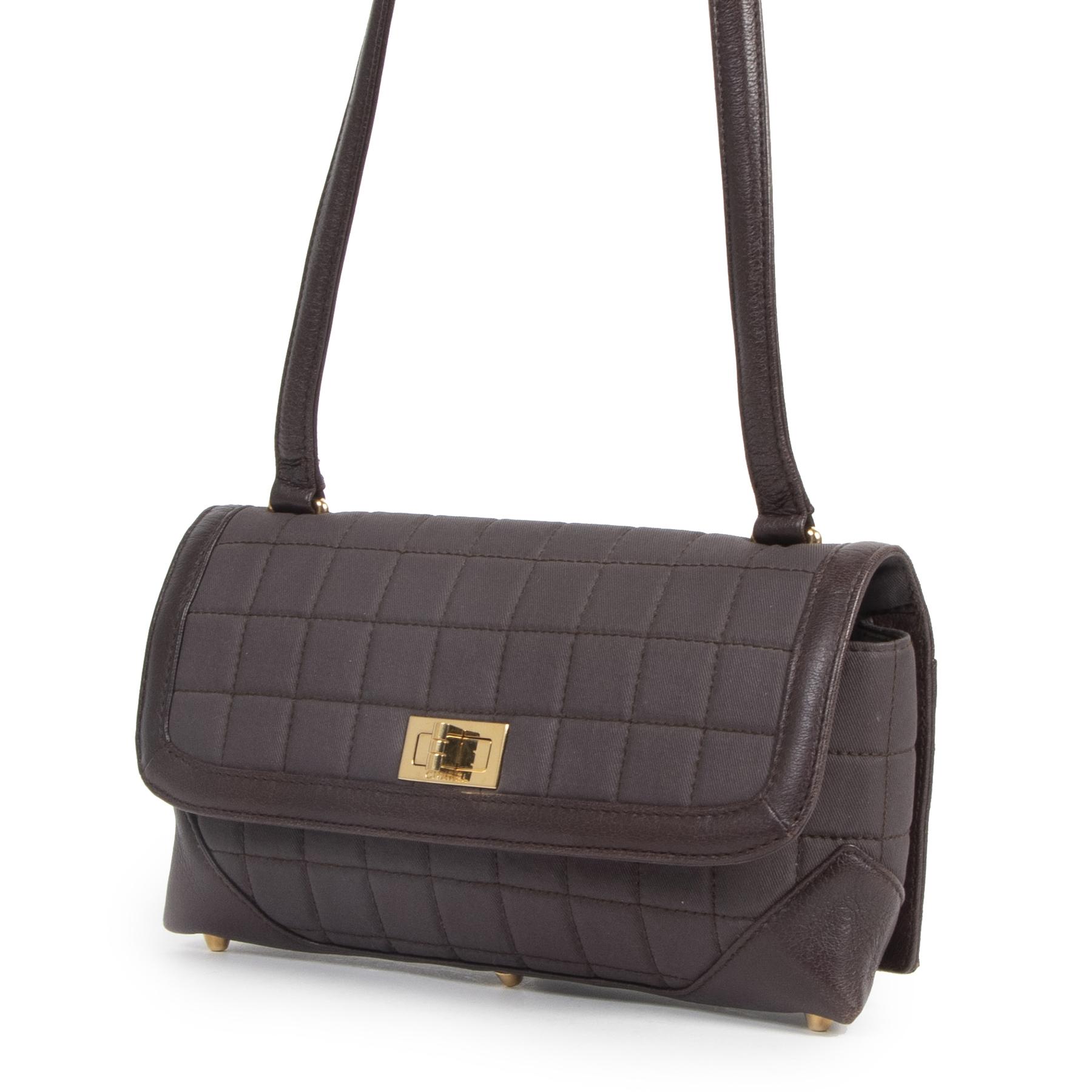 Authentic secondhand Chanel East West Reissue Dark Plum Canvas Shoulder Bag designer bags luxury vintage webshop fashion safe secure online shopping