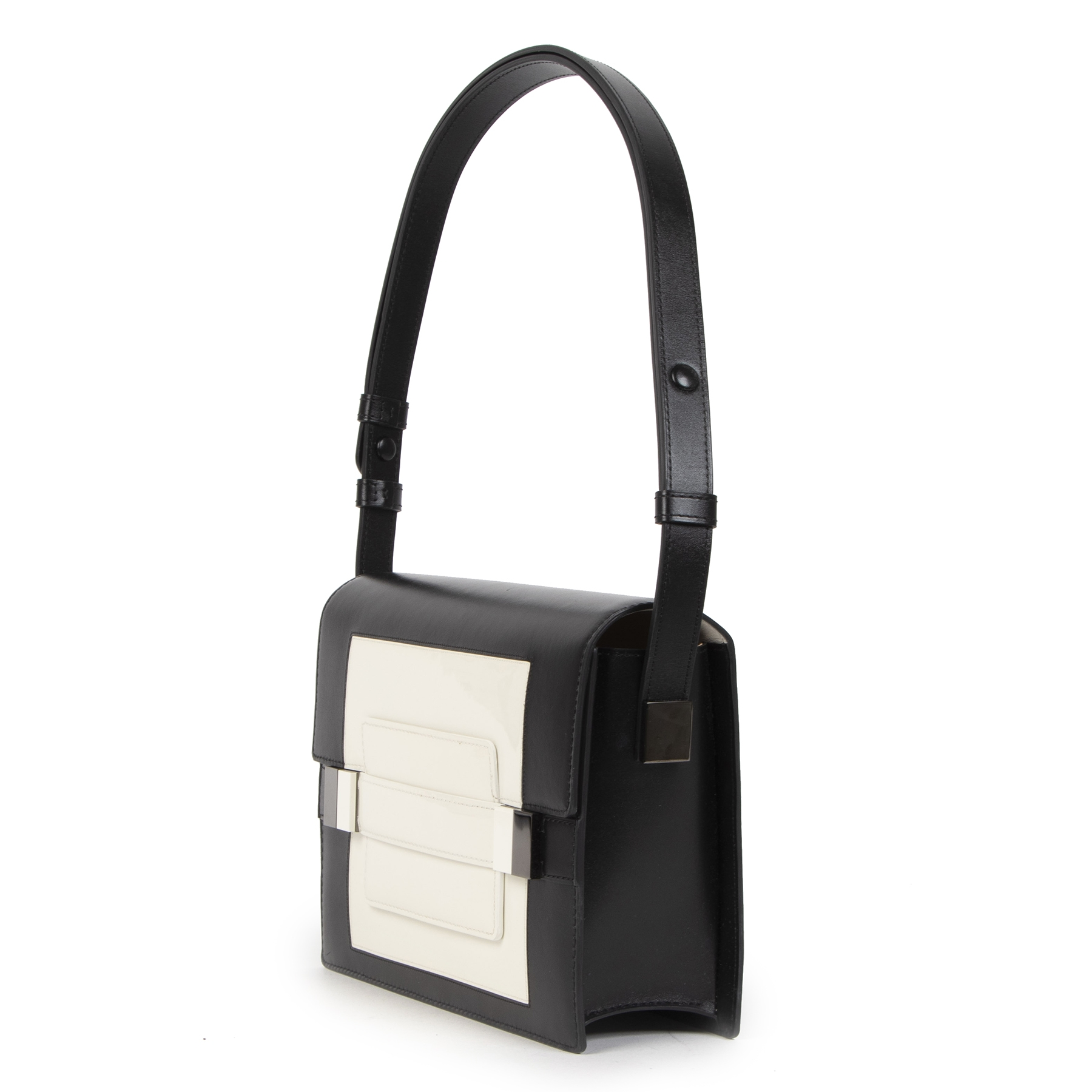 Delvaux Black And White Madame PM Leather Shoulder Bag