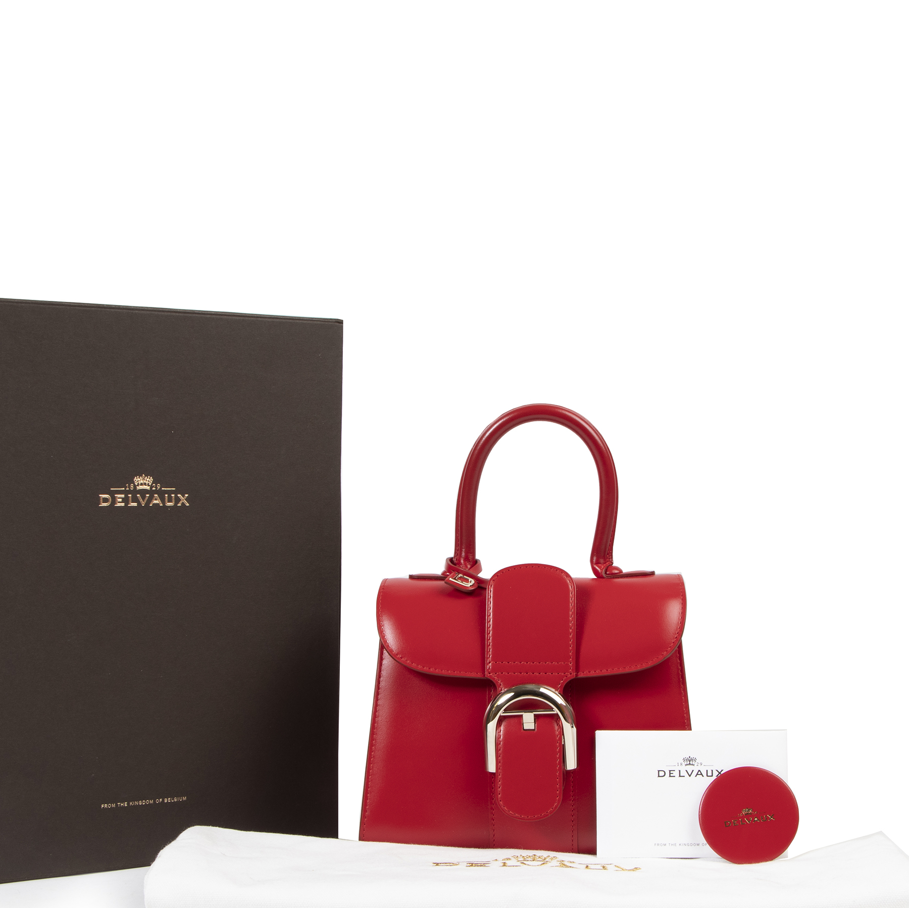 Authentic secondhand Delvaux Red Mini Brillant designer bags fashion luxury vintage webshop safe secure online shopping