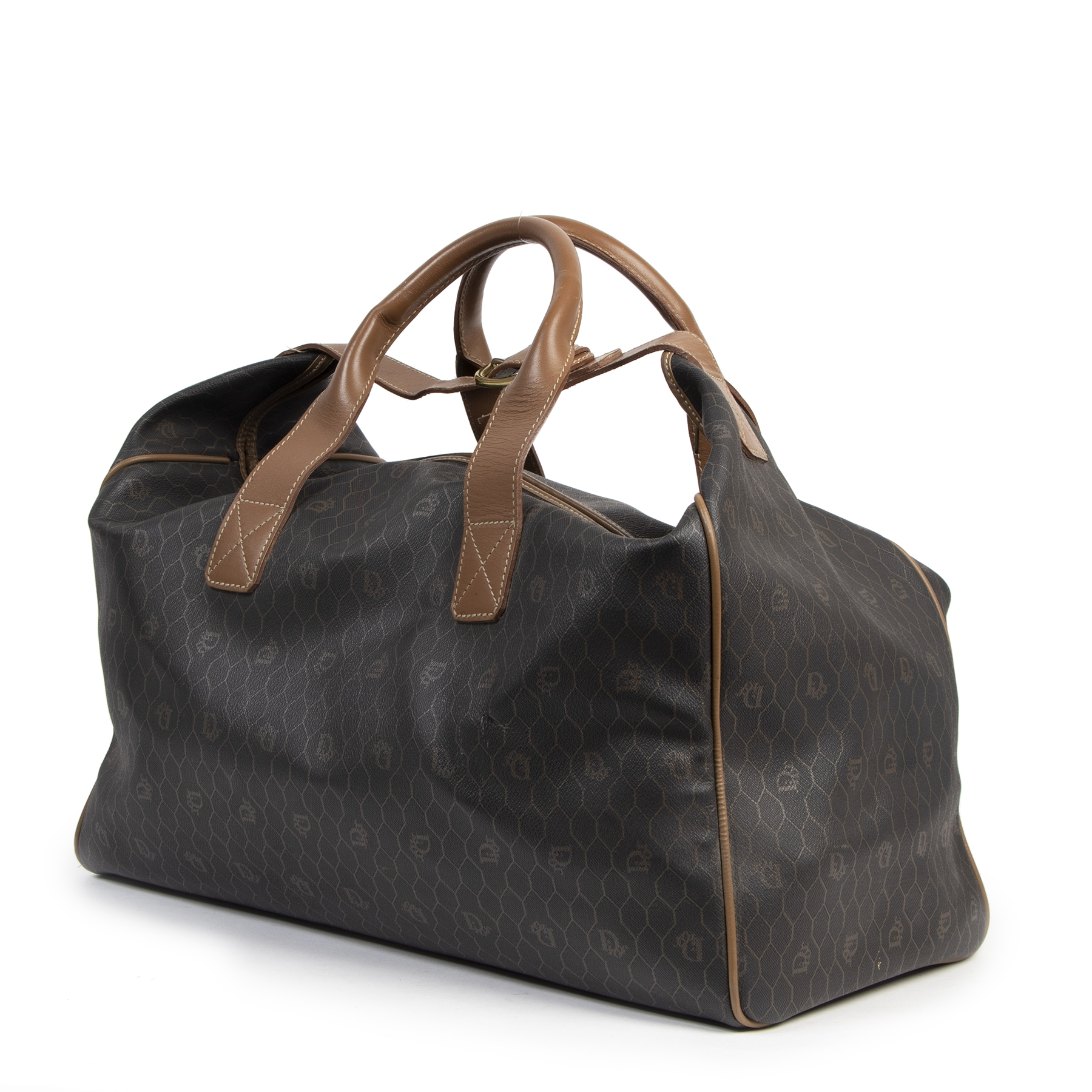 Authentieke tweedehands vintage Dior Grey Honeycomb Travel Bag koop online webshop LabelLOV