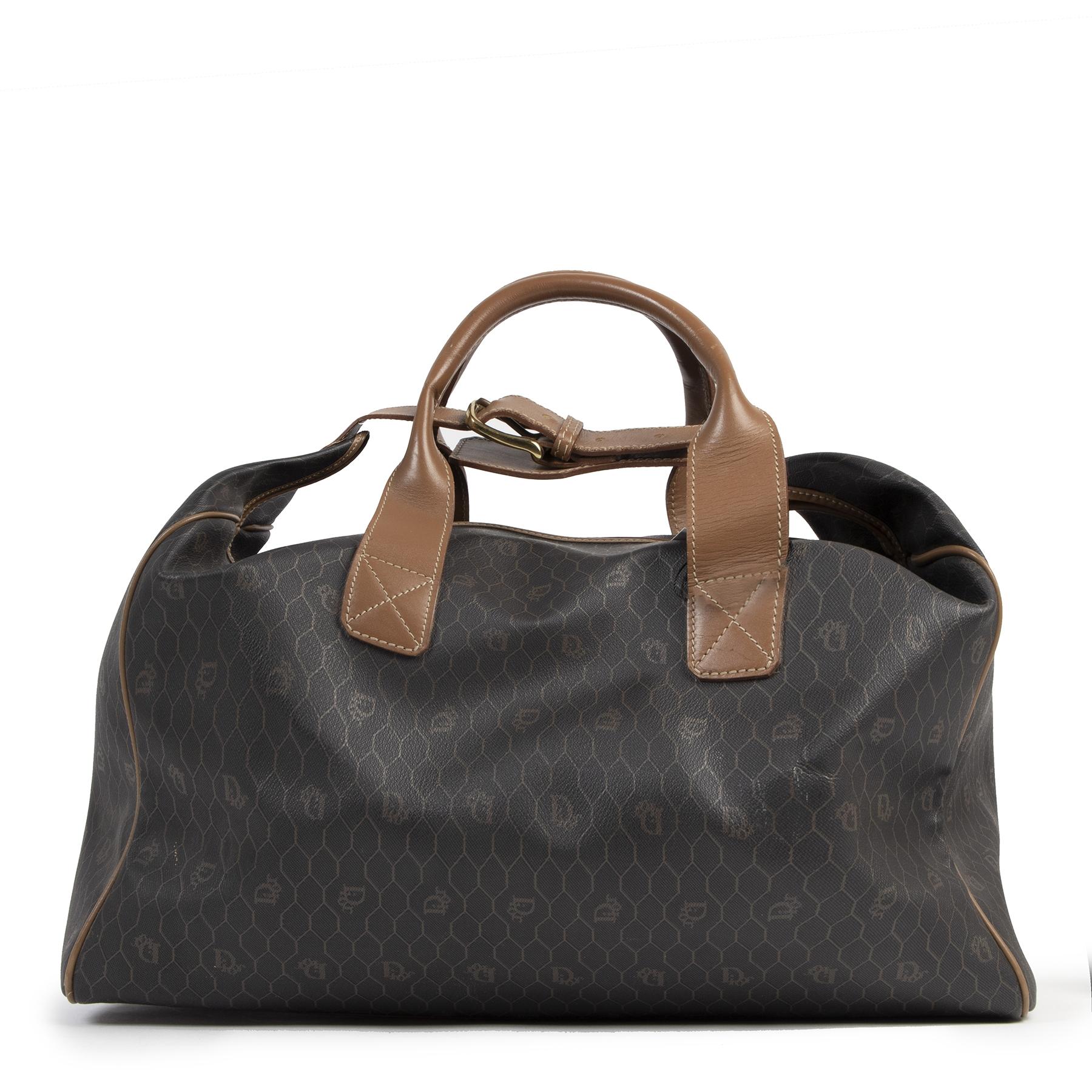 Authentic second-hand vintage Dior Grey Honeycomb Travel Bag buy online webshop LabelLOV