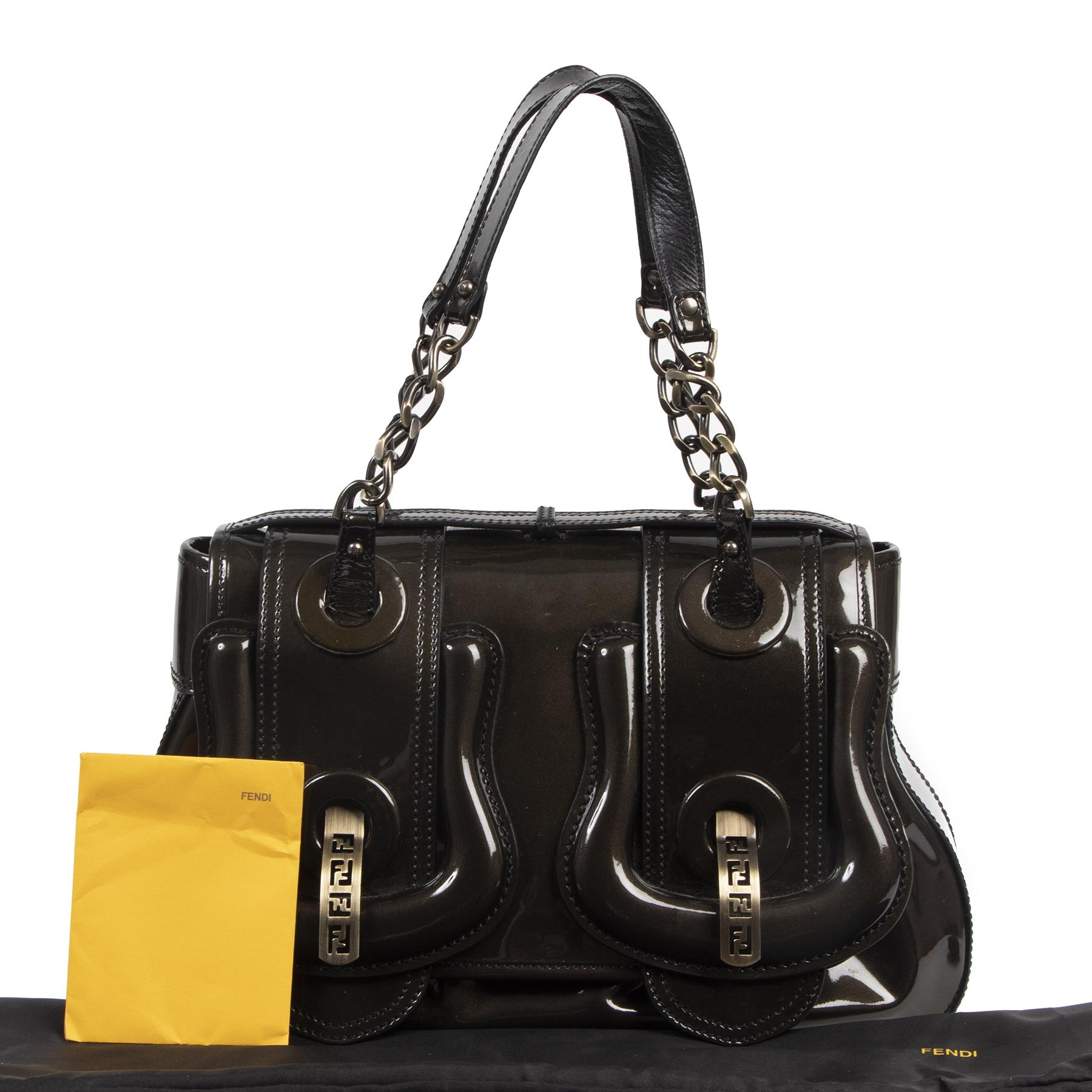 Fendi Patent B. Brownish Metallic Shoulder Bag kopen en verkopen aan de beste prijs online