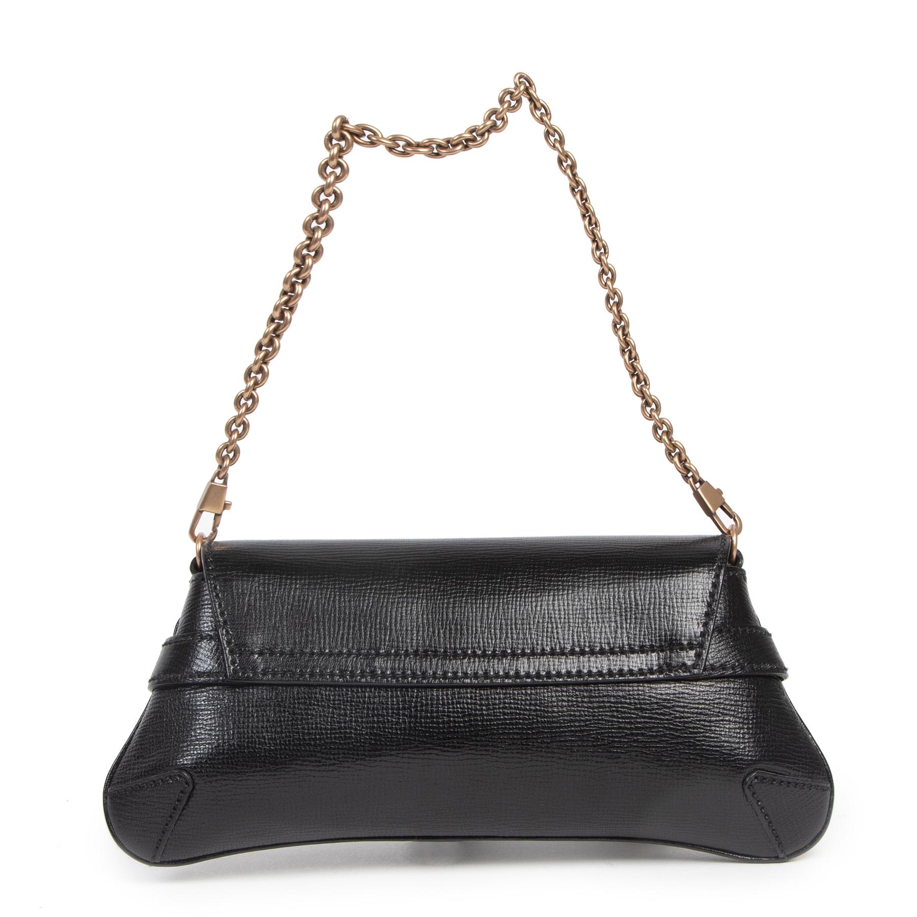 Authentieke Tweedehands Gucci Black Horsebit Shoulder Bag juiste prijs veilig online shoppen luxe merken webshop winkelen Antwerpen België mode fashion